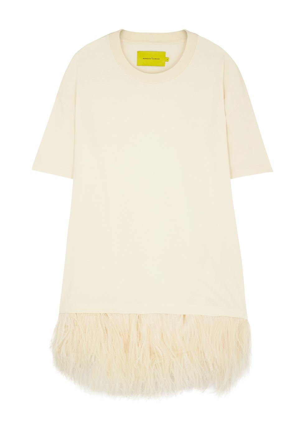 Ecru feather-trimmed cotton T-shirt dress