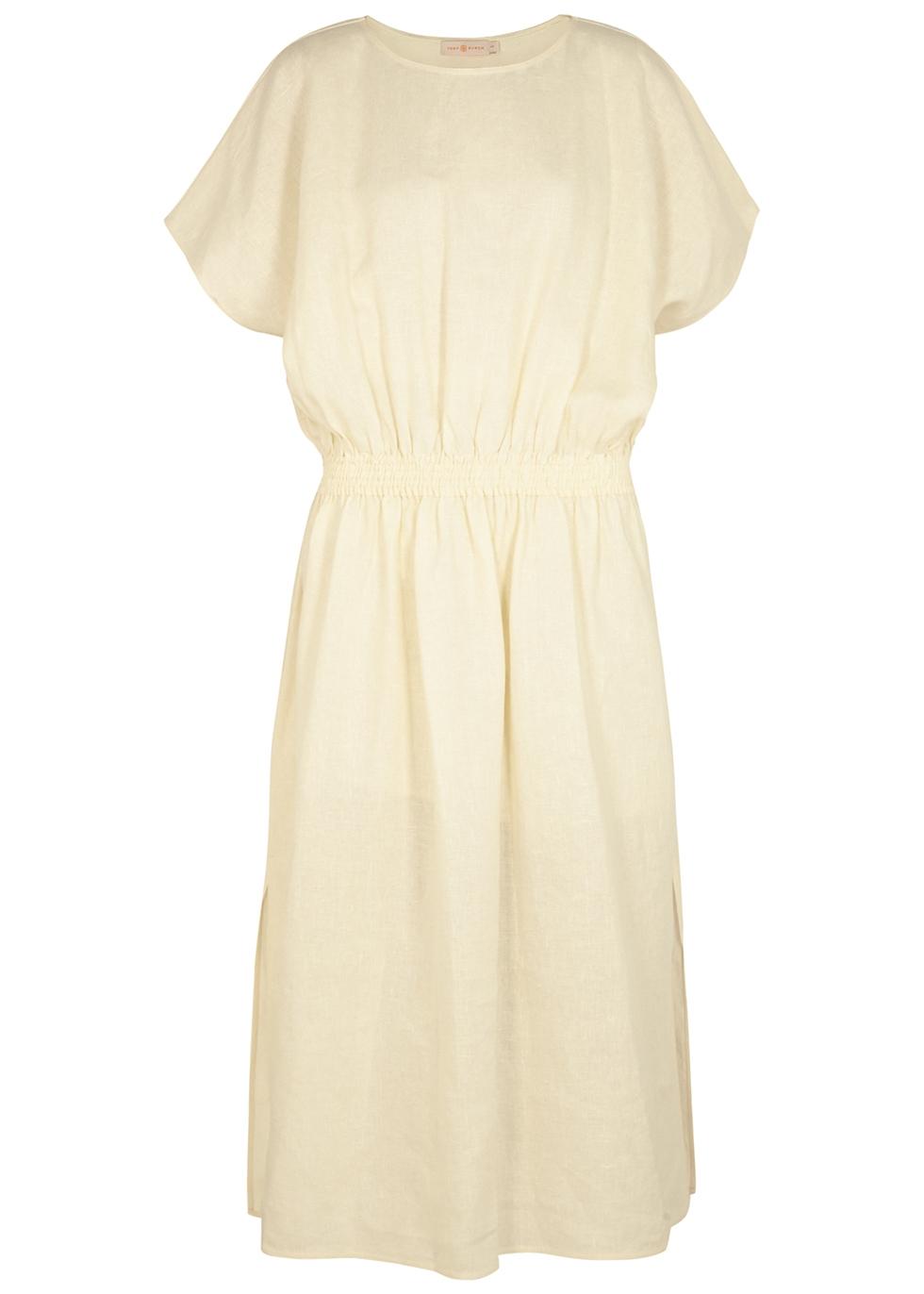 Cream linen midi dress