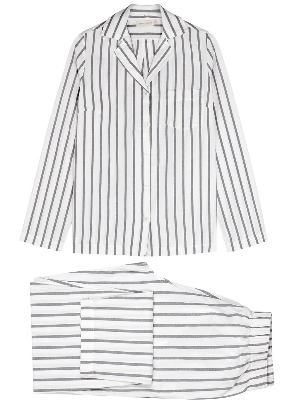 White striped cotton pyjama set