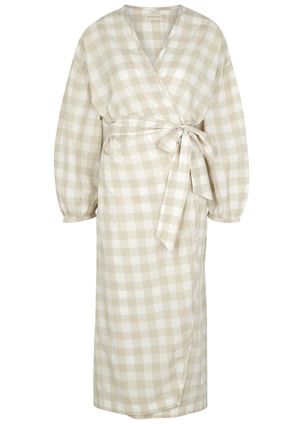 Agnes gingham cotton wrap dress