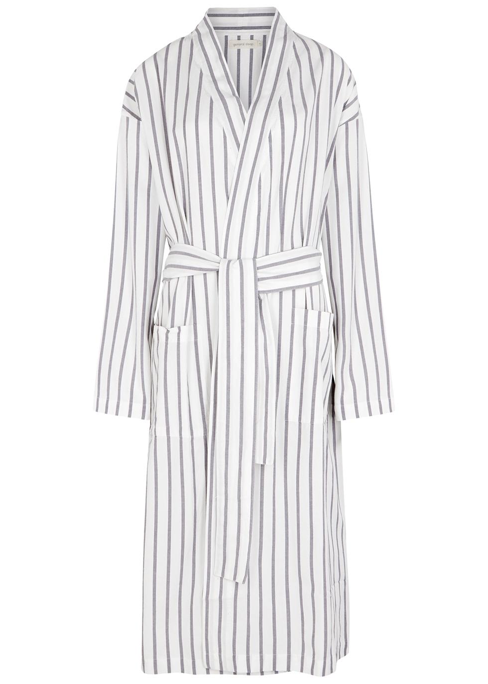 Everyone white striped cotton robe