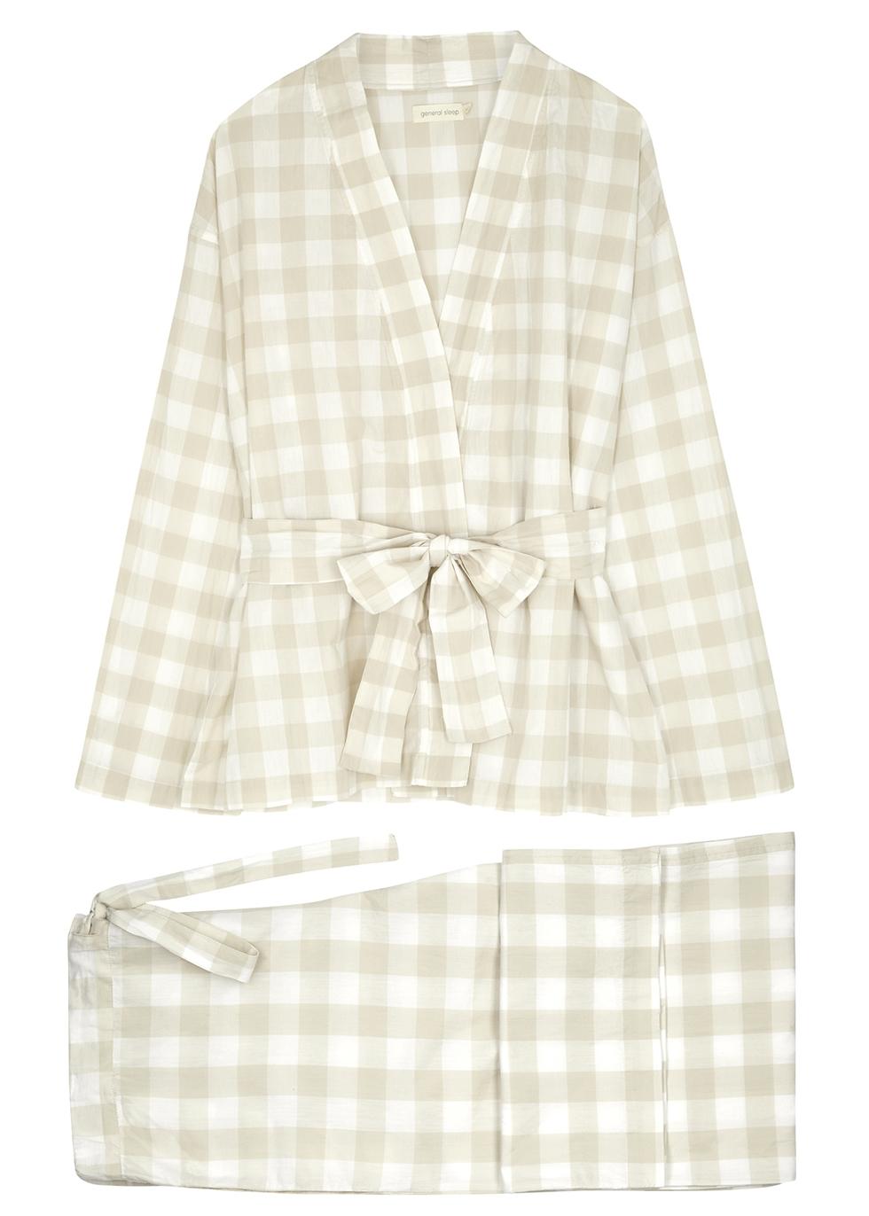 Gingham cotton pyjama set