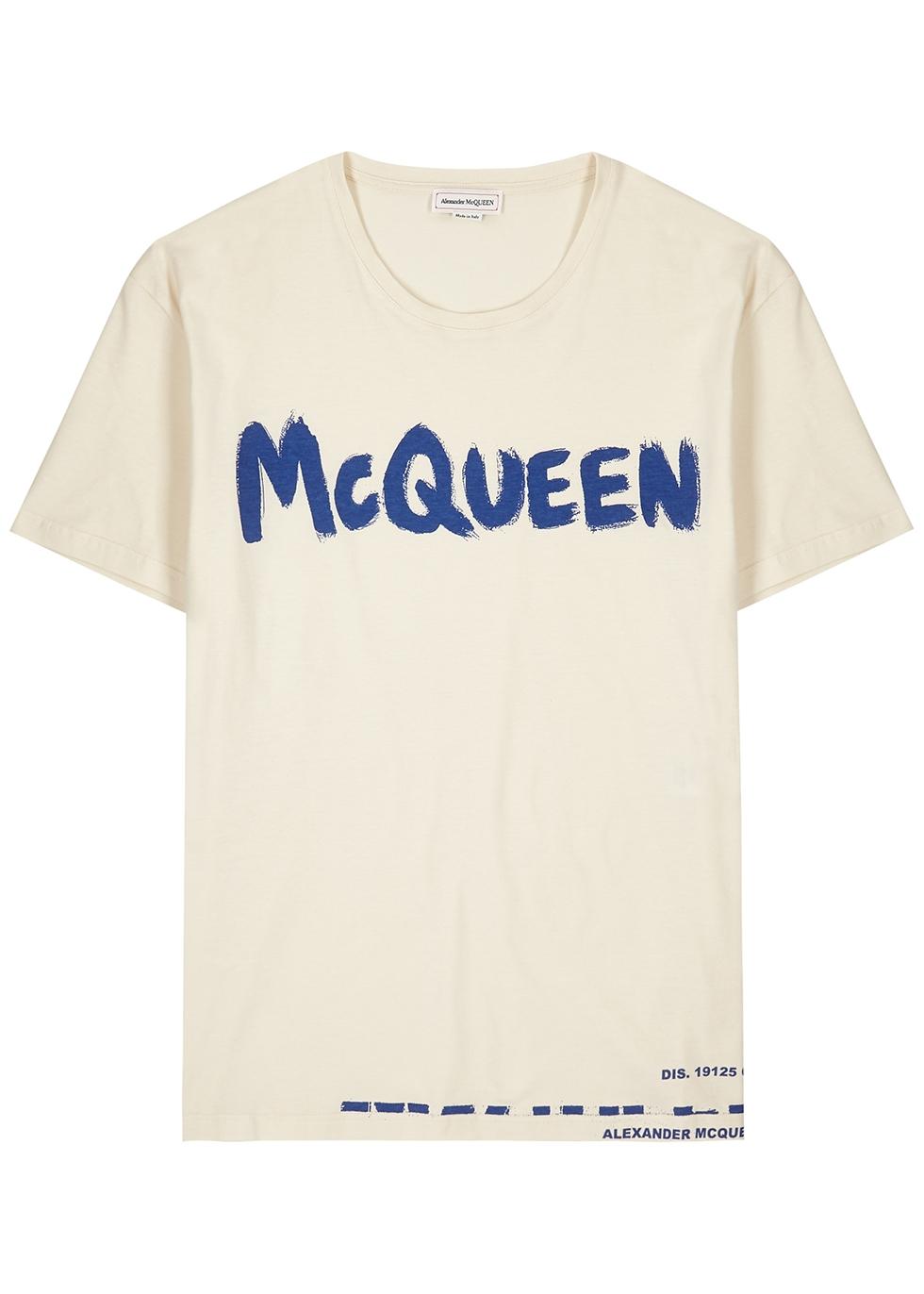 Cream logo cotton T-shirt