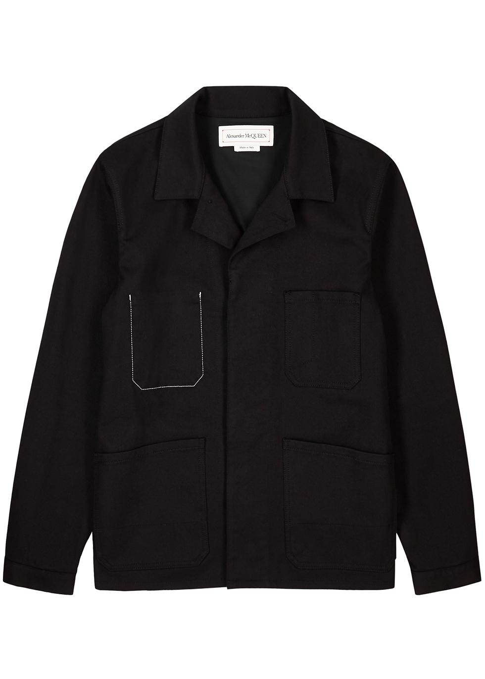 Black embroidered stretch-denim jacket