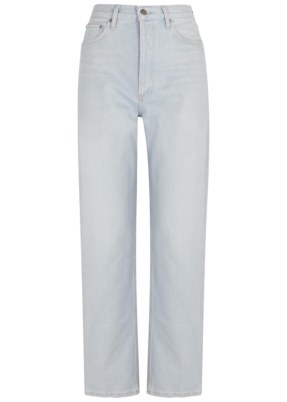 90's Pinch Waist light blue straight-leg jeans
