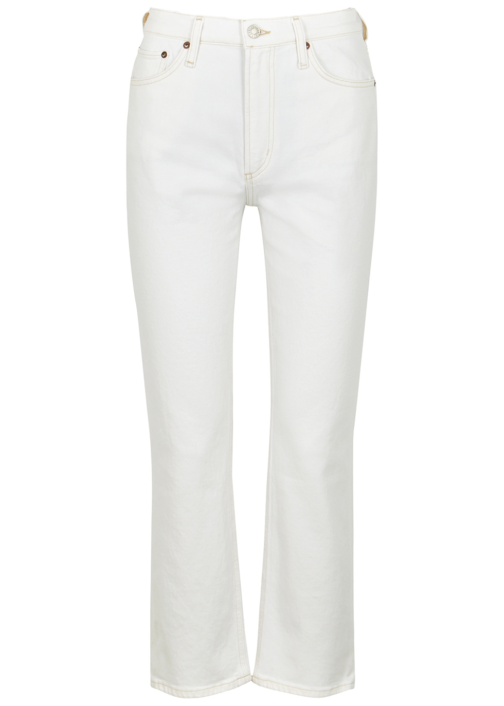 Wilder white cropped straight-leg jeans