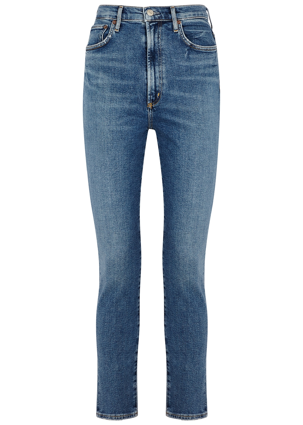 Pinch Waist blue skinny jeans