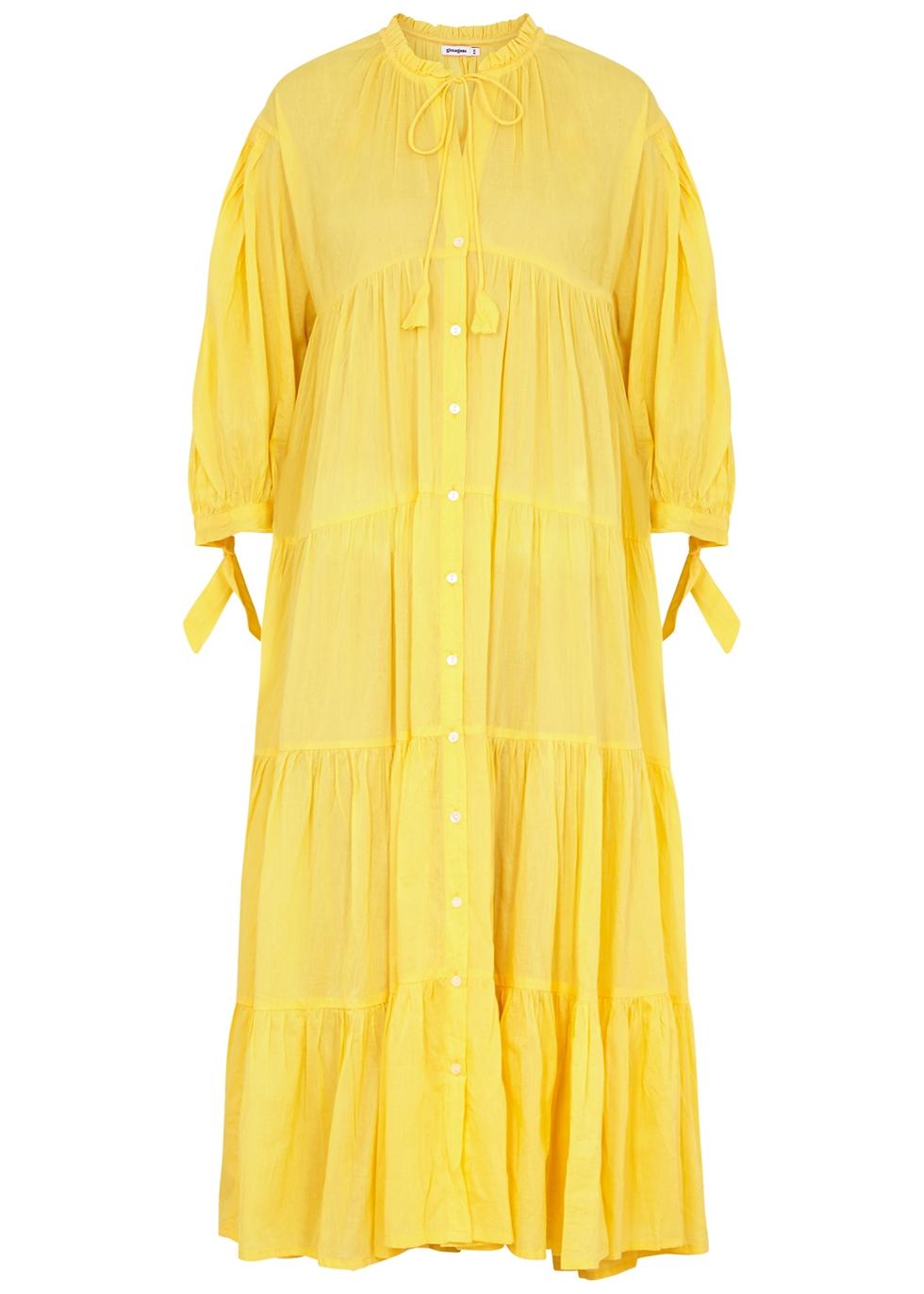 Oahu yellow tiered cotton midi dress