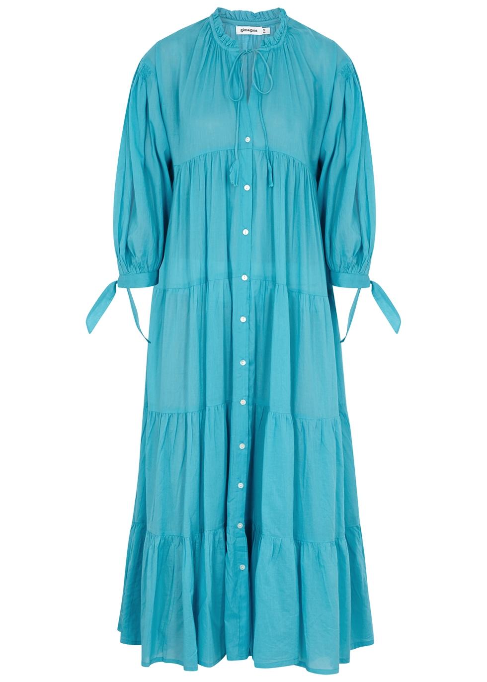 Oahu blue tiered cotton midi dress