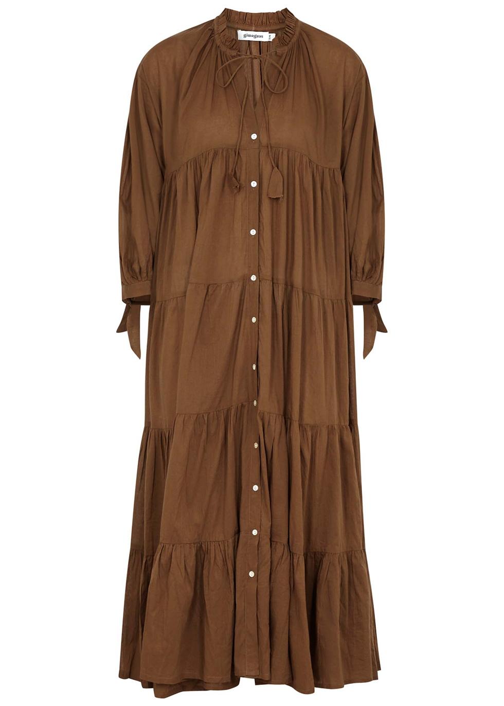 Oahu brown tiered cotton midi dress