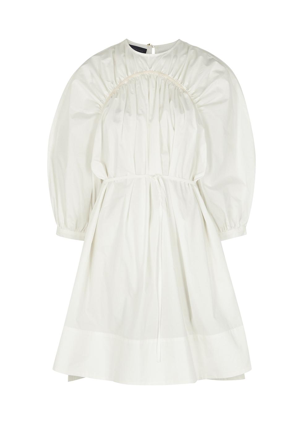 Carla white cotton-poplin mini dress