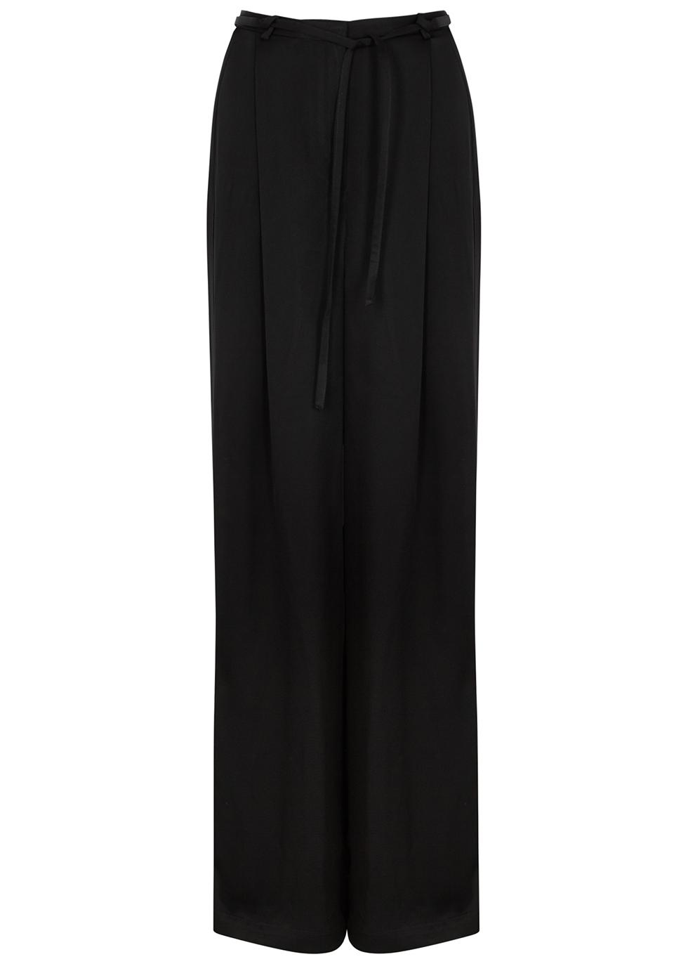 Tandin black wide-leg satin trousers