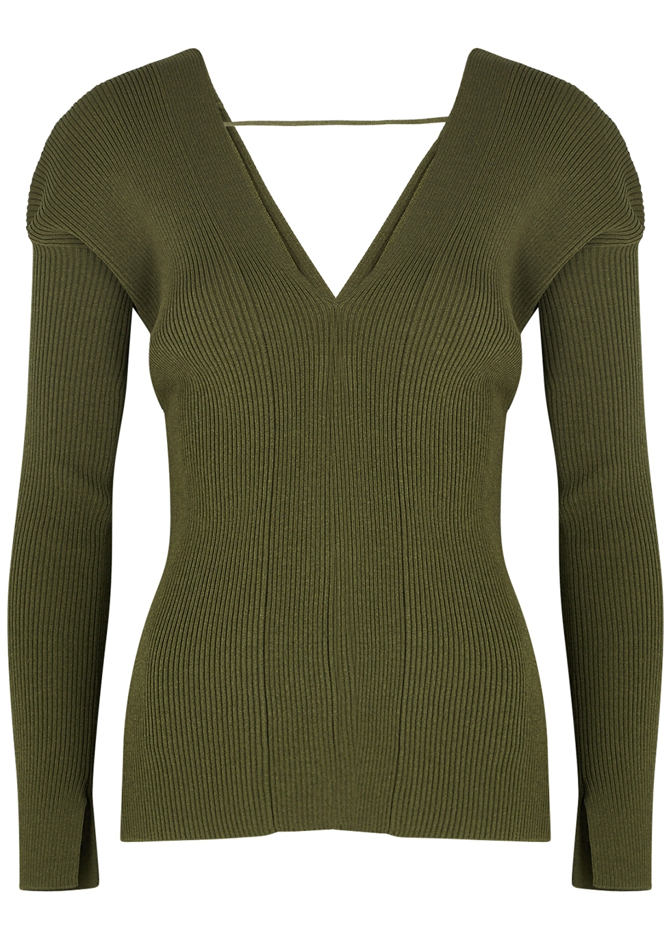 Emily army green stretch-knit top