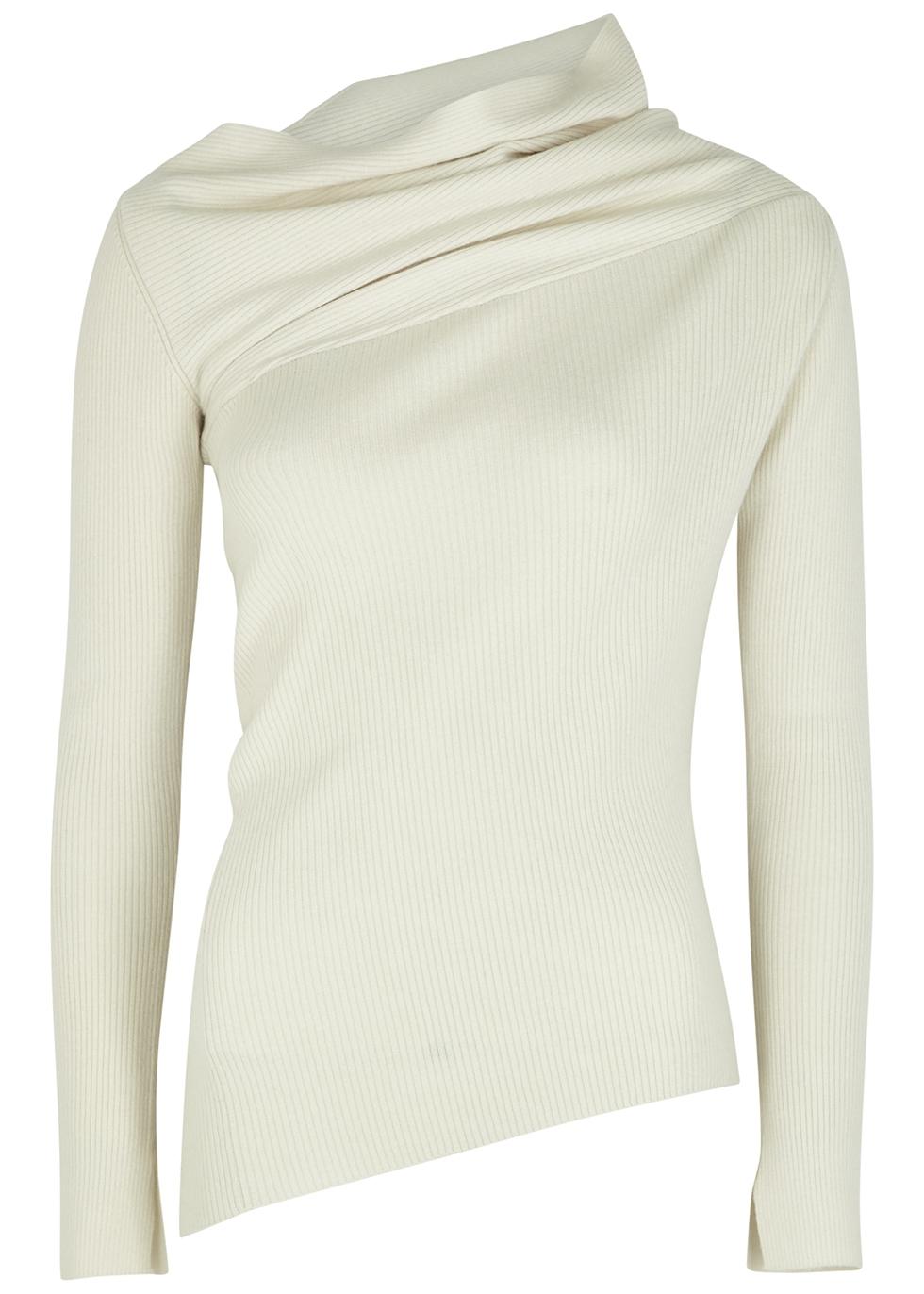 Eileen ivory asymmetric merino wool jumper