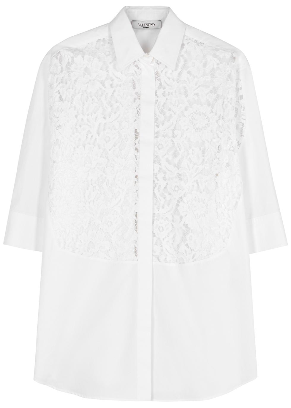White lace-panelled cotton shirt