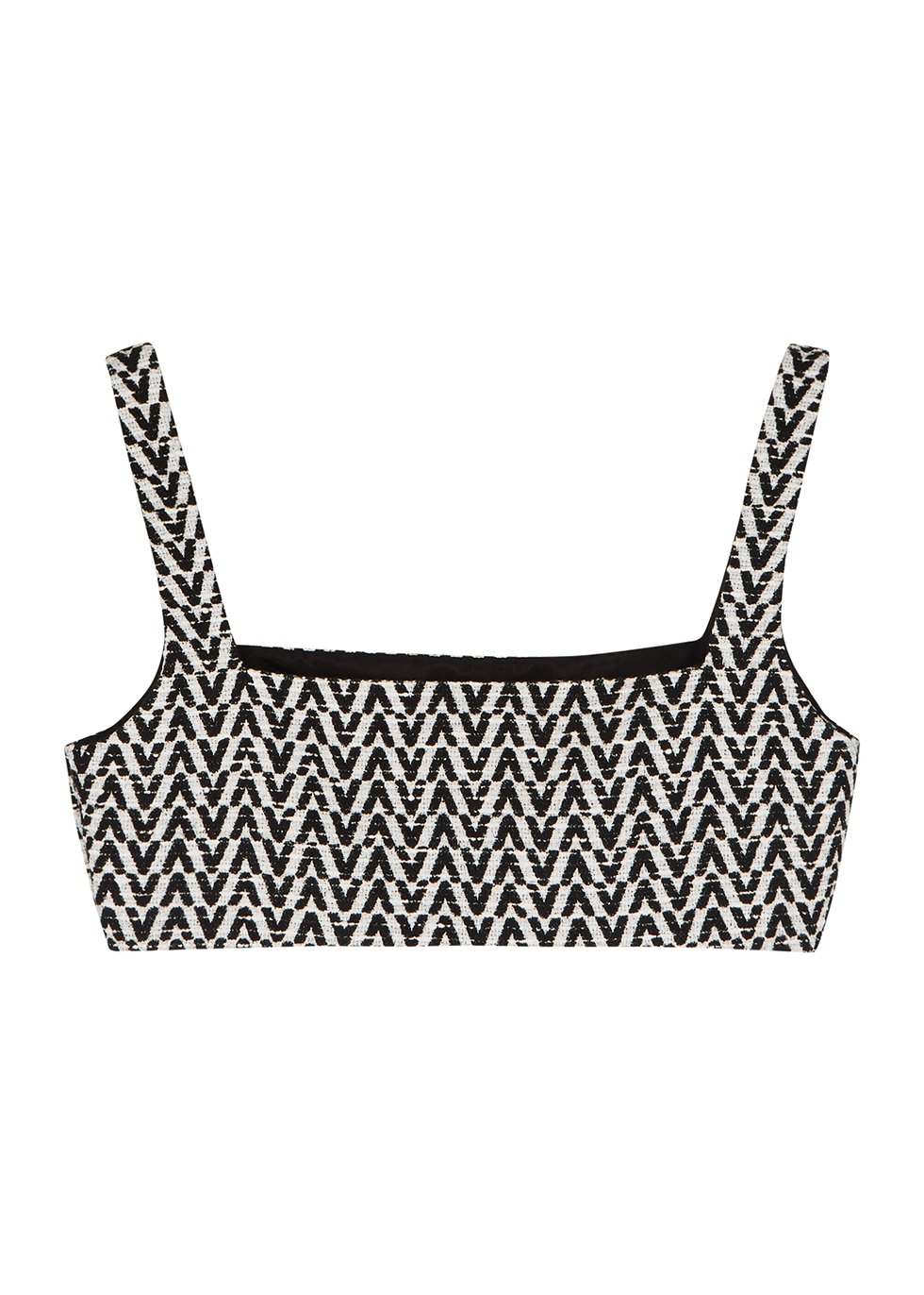 Monochrome logo bouclé tweed bra top