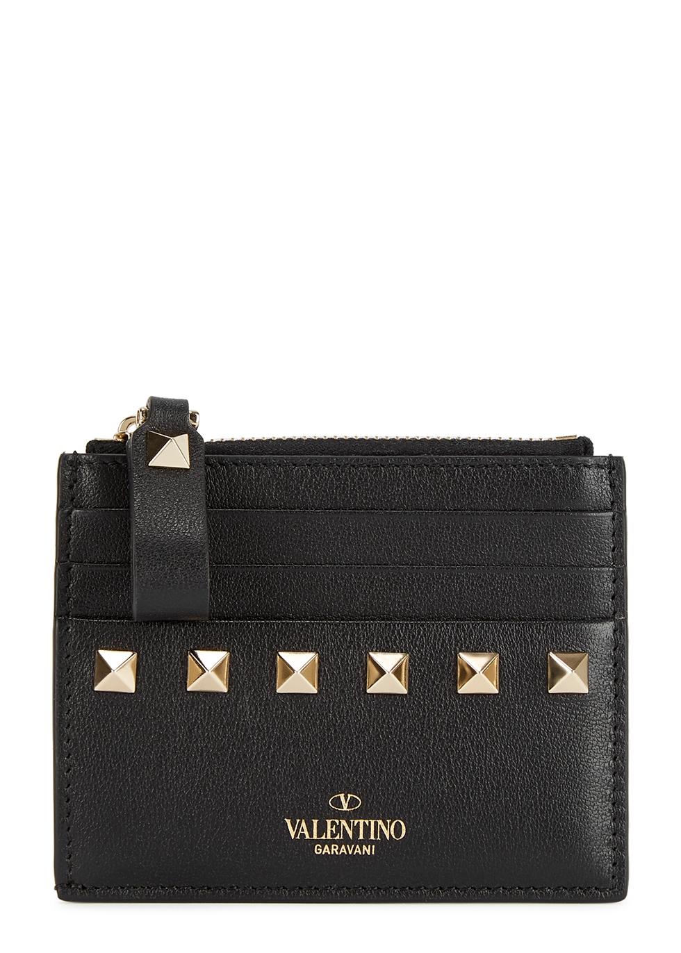Valentino Garavani Rockstud black leather card holder