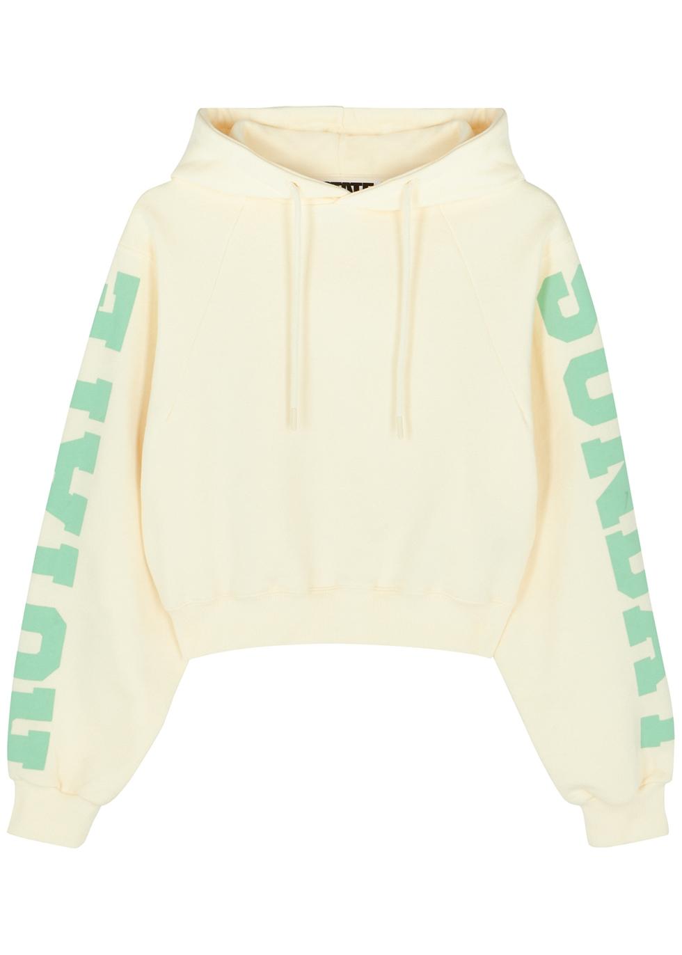 Viola cream hooded cotton sweatshirt