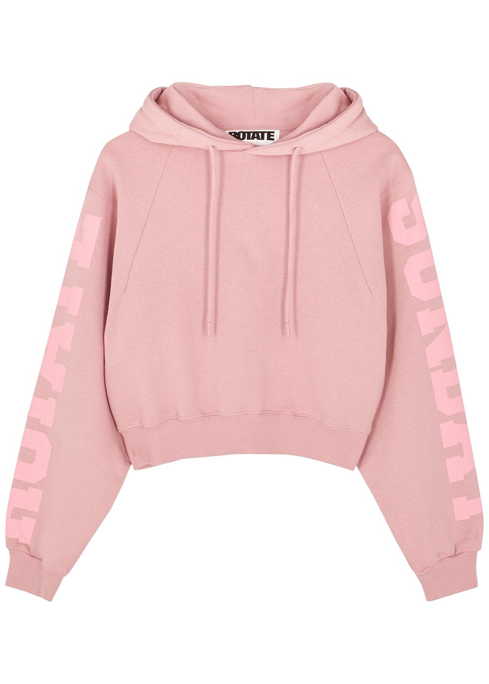 Viola pink hooded cotton sweatshirt