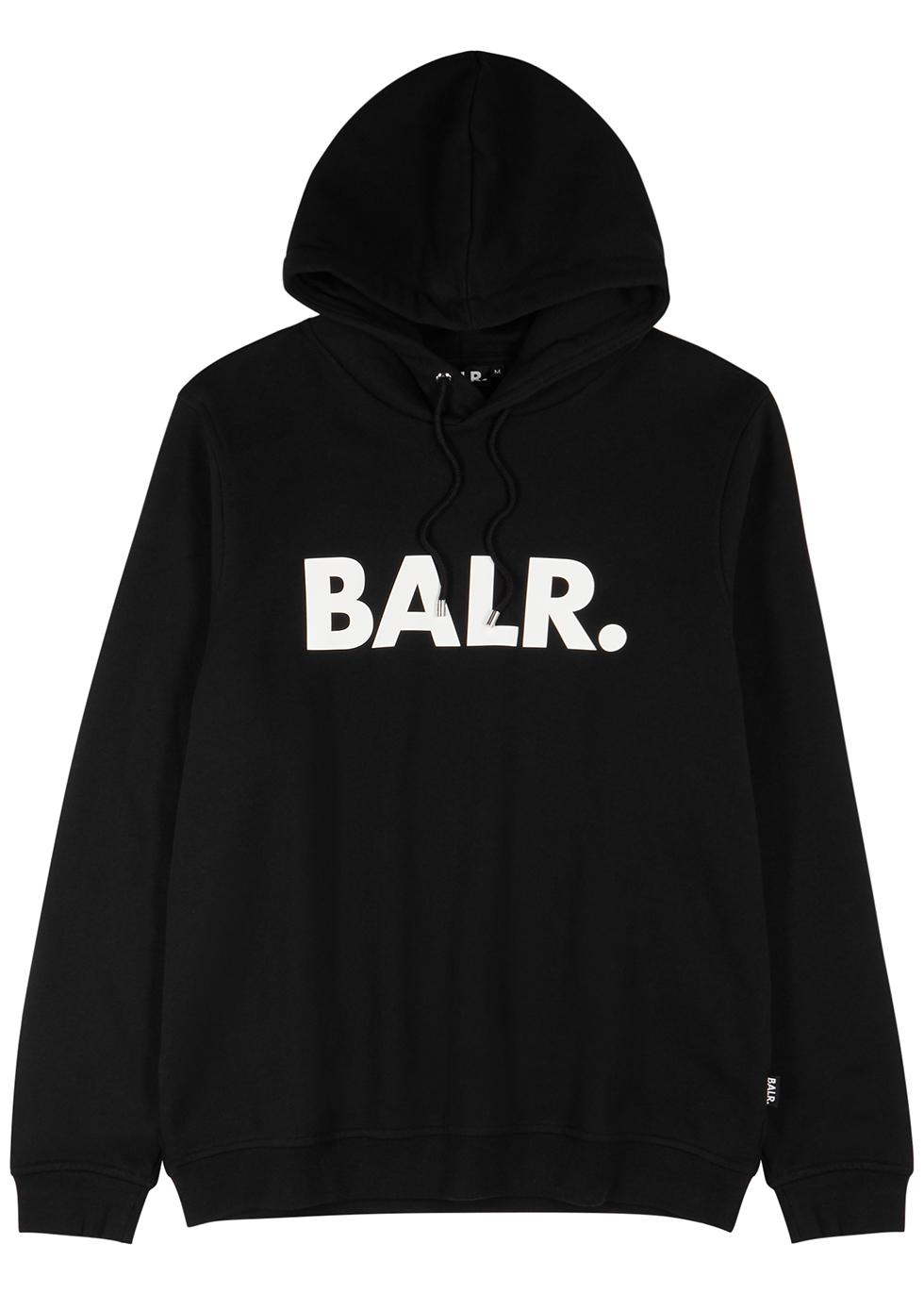 Black logo hooded cotton-blend sweatshirt