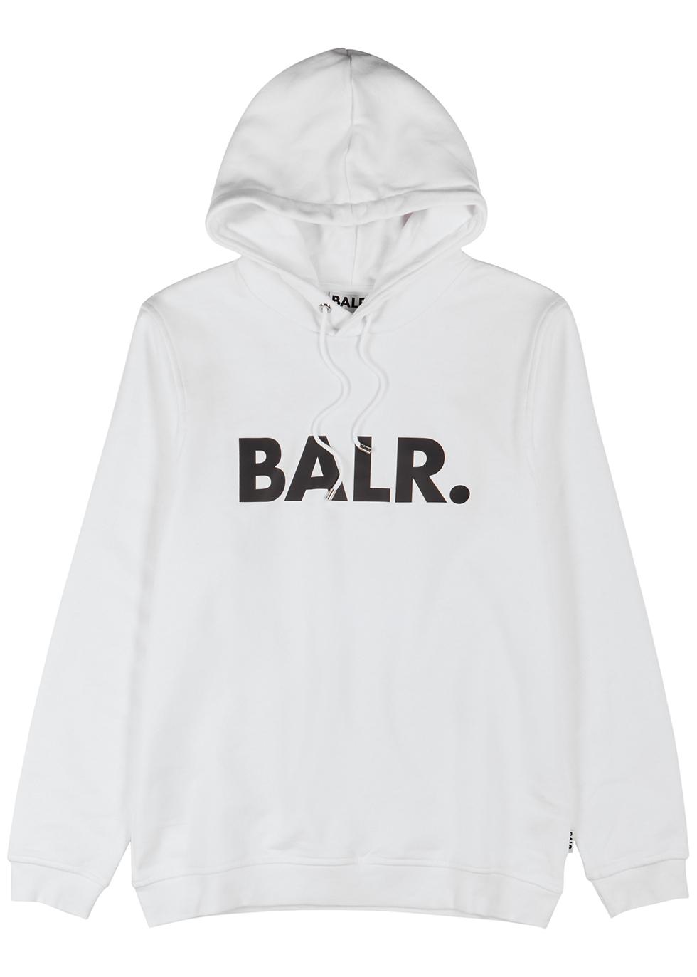 White logo hooded cotton-blend sweatshirt