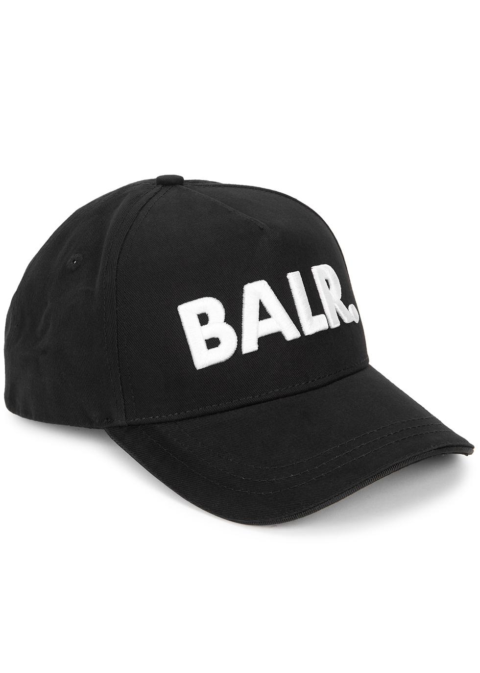 Black logo-embroidered cotton cap