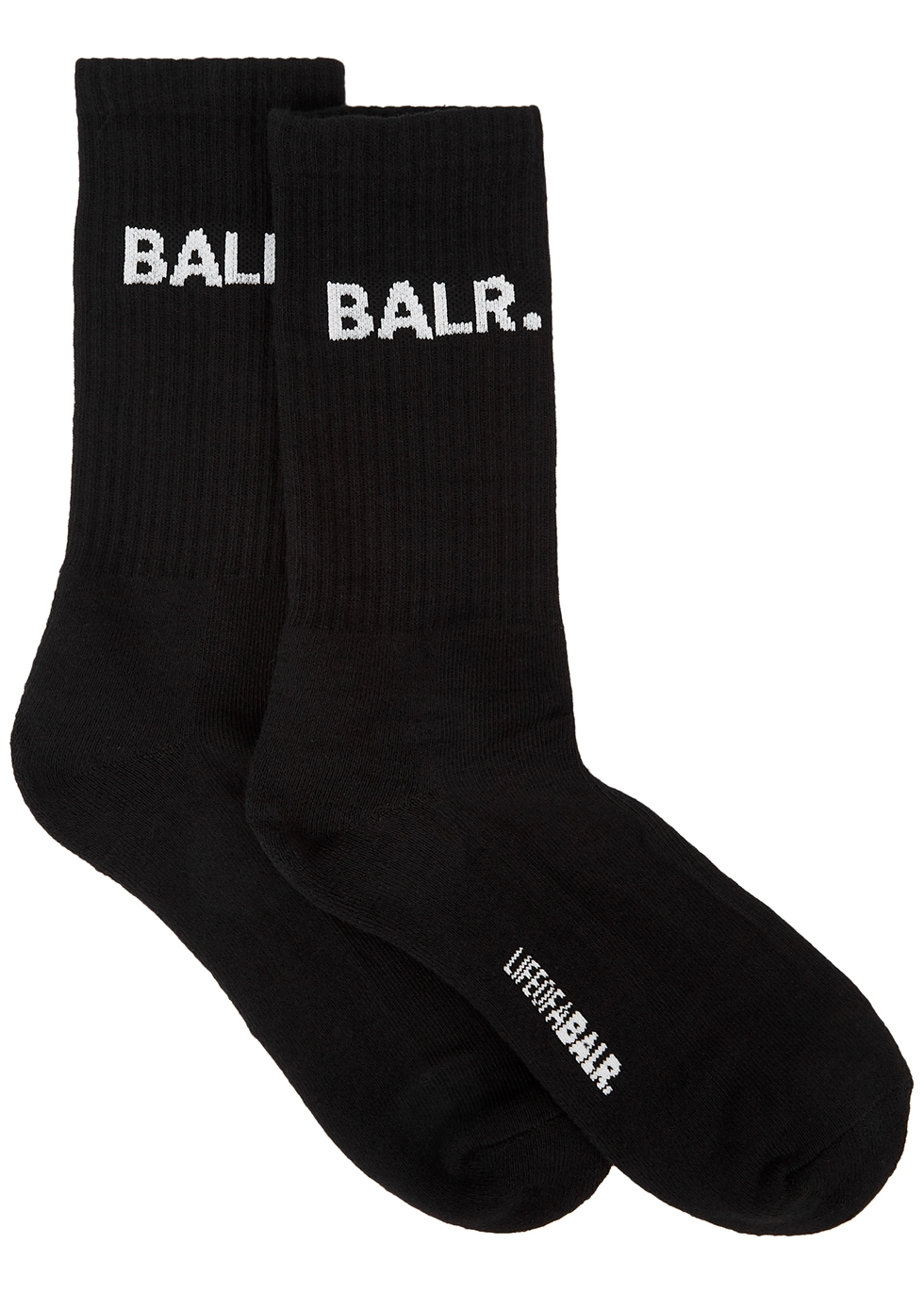 Black logo cotton-blend socks