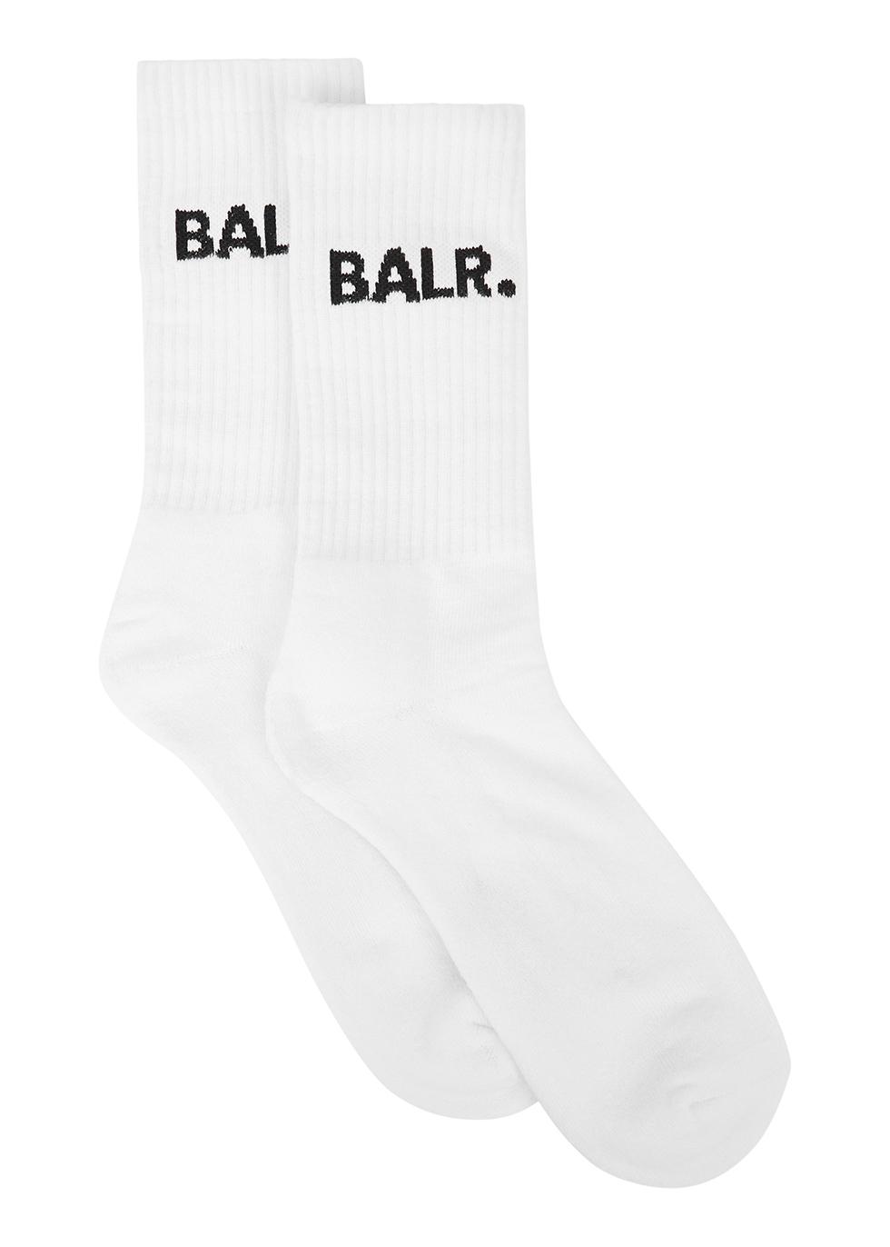 White logo cotton-blend socks