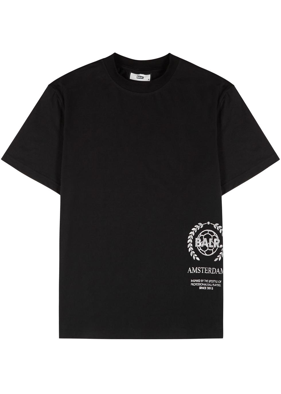 Amsterdam black logo-print cotton T-shirt
