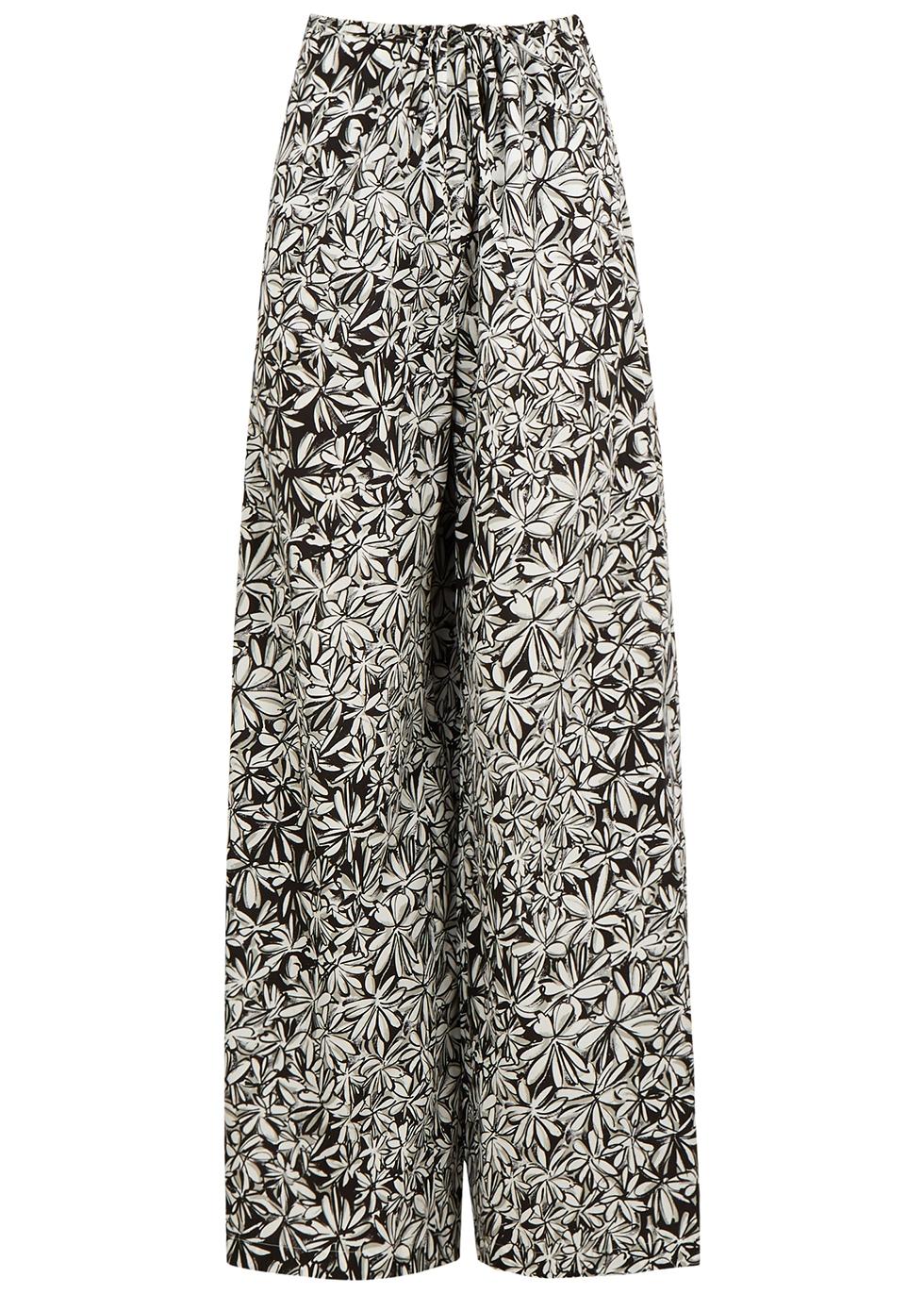 Floral-print wide-leg cotton trousers