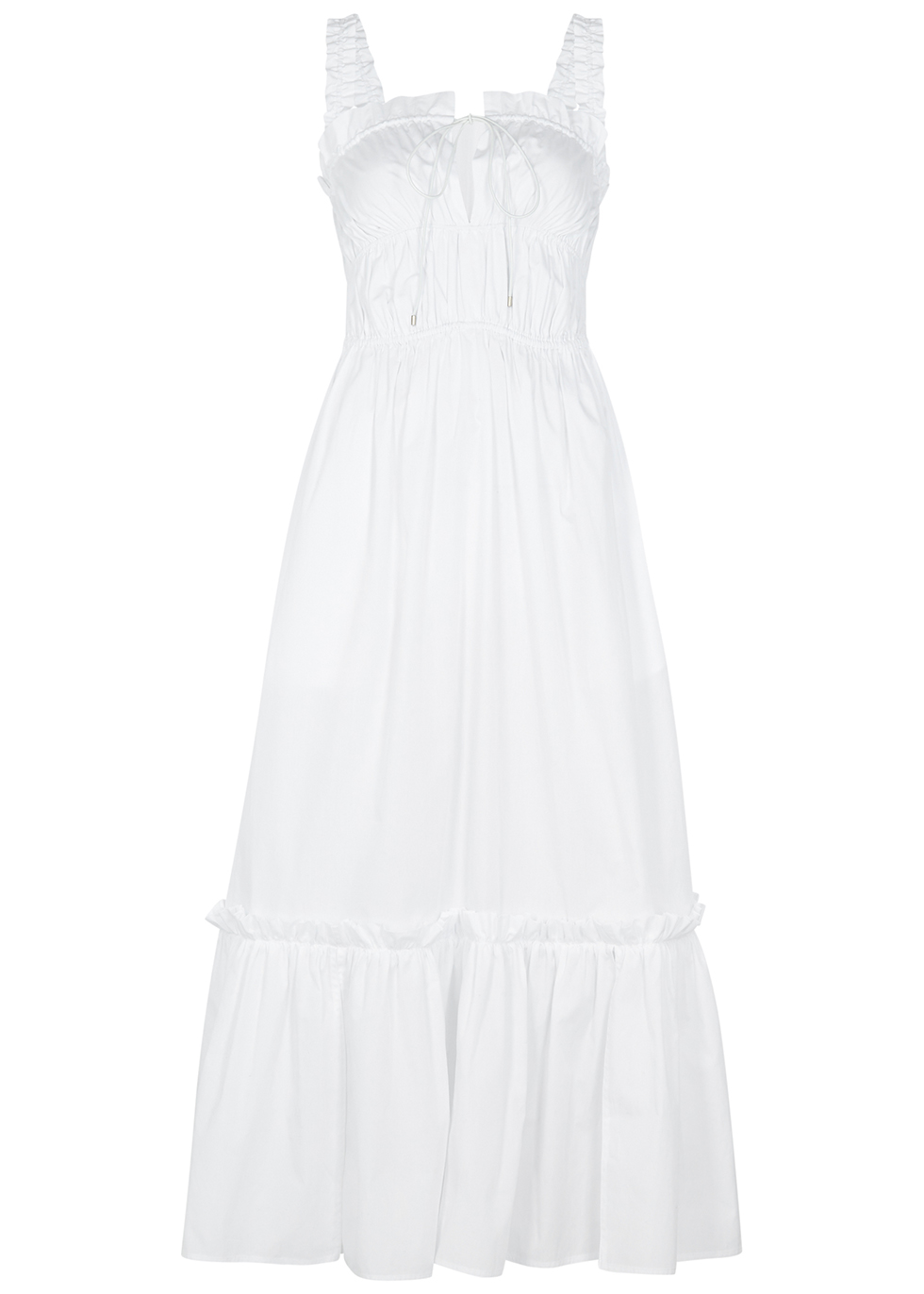 White ruched cotton maxi dress