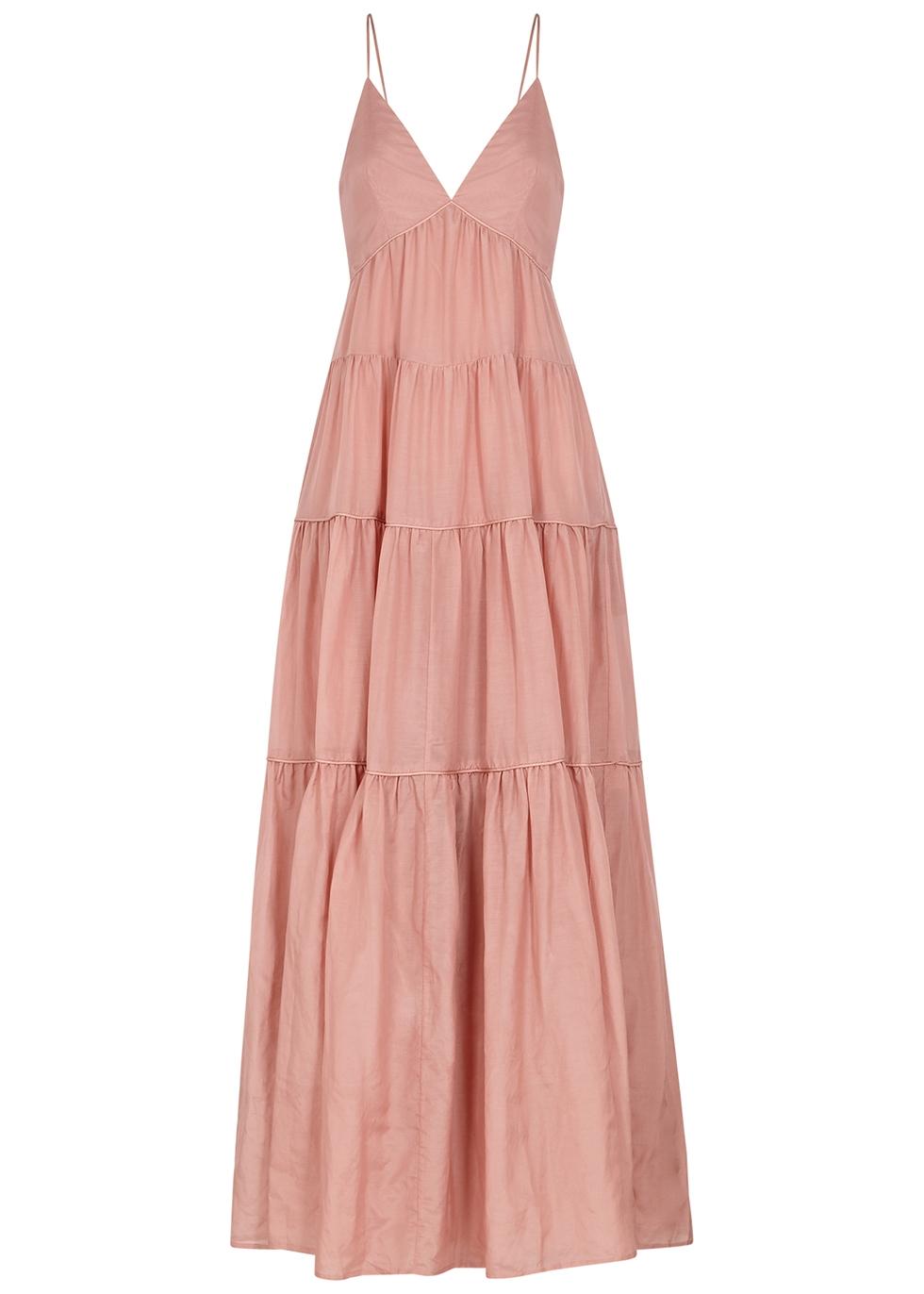 Apollo pink cotton and silk-blend maxi dress