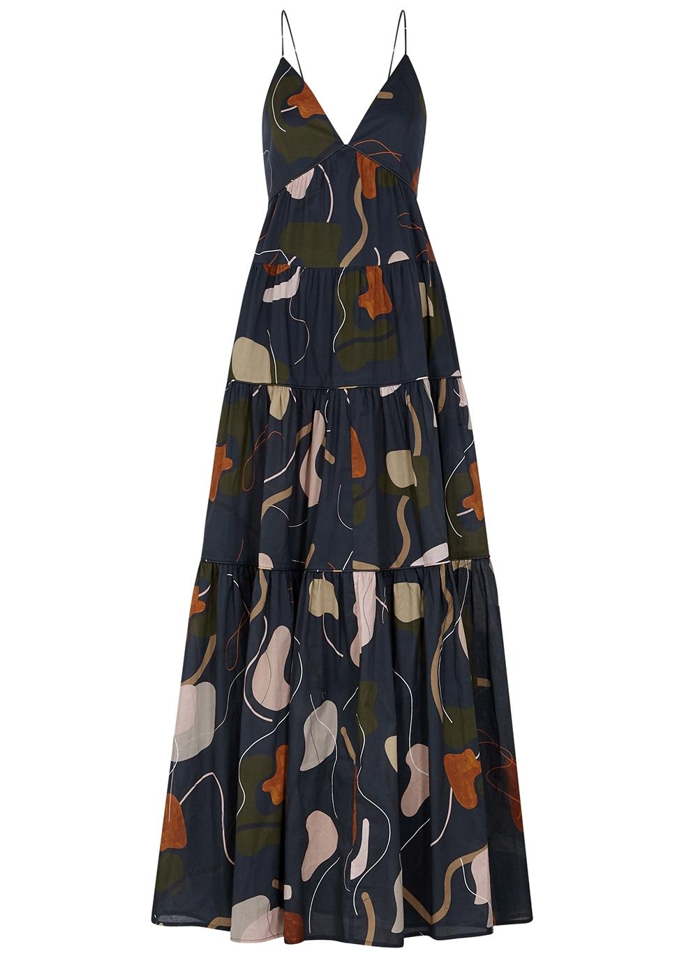 Apollo printed cotton maxi dress