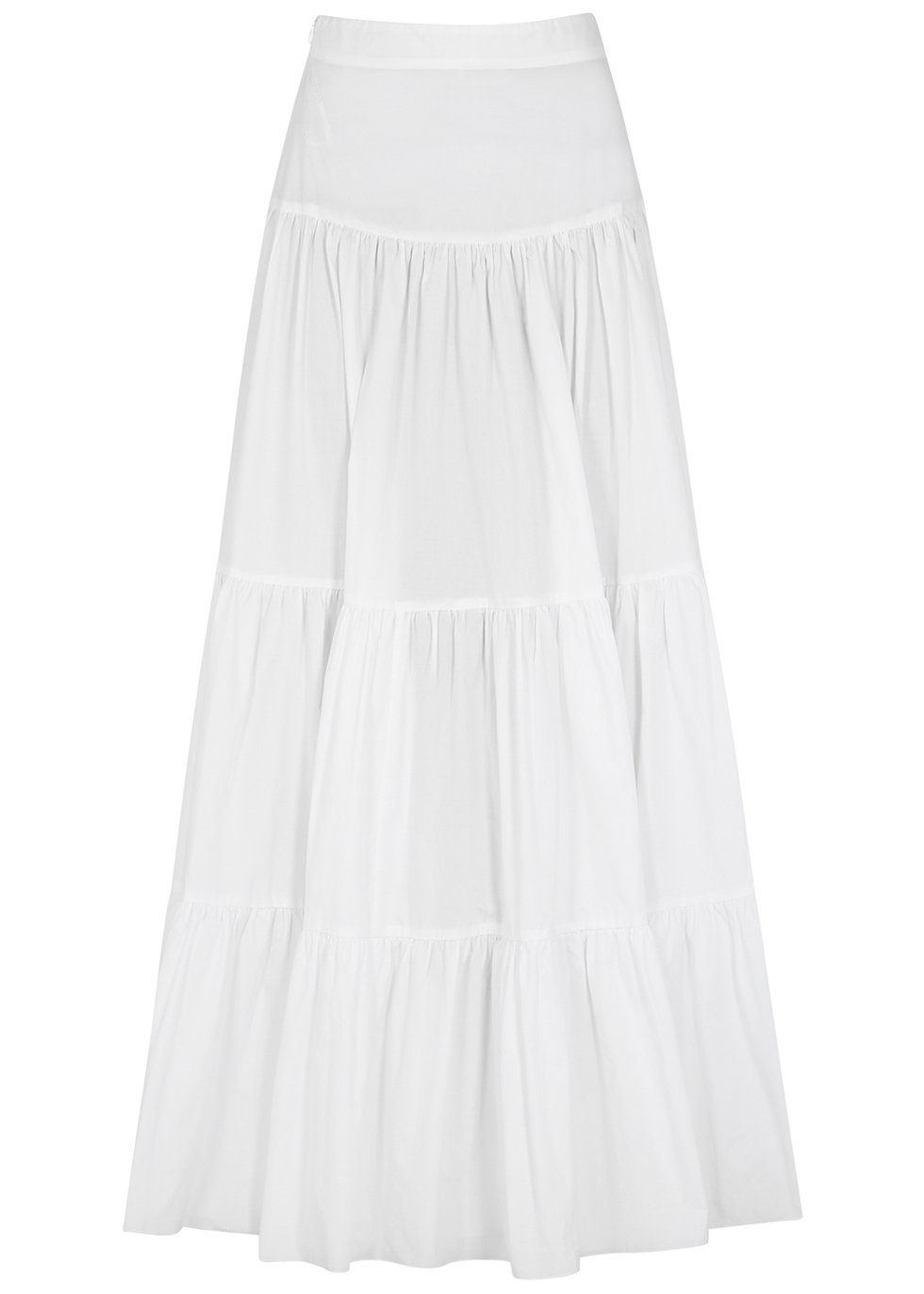 Elouise white tiered cotton maxi skirt