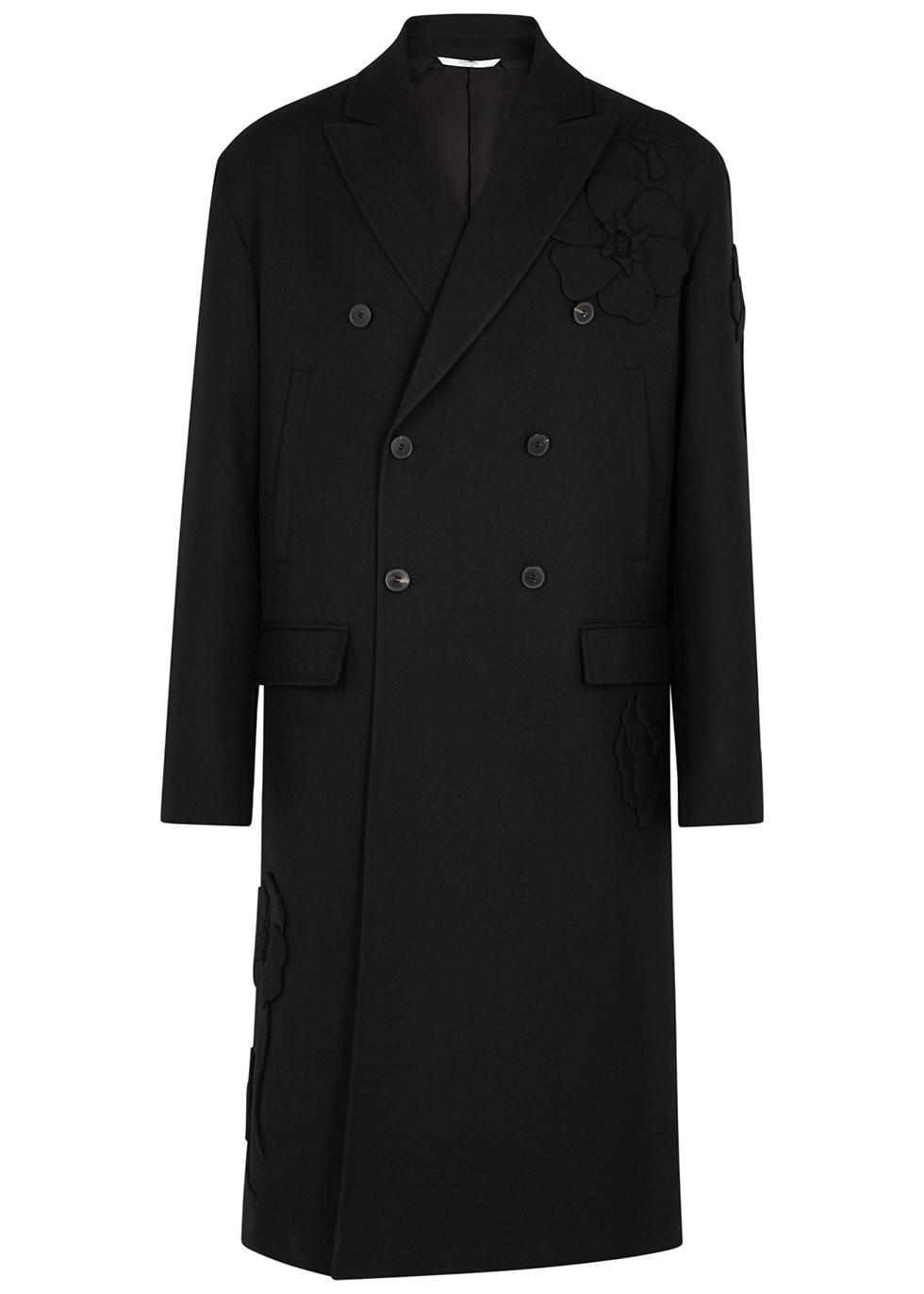 Black floral-appliquéd wool coat
