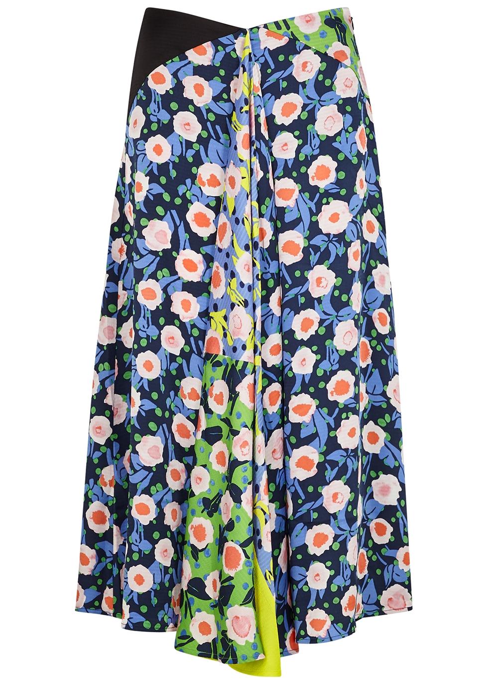 Lilah floral-print satin midi skirt