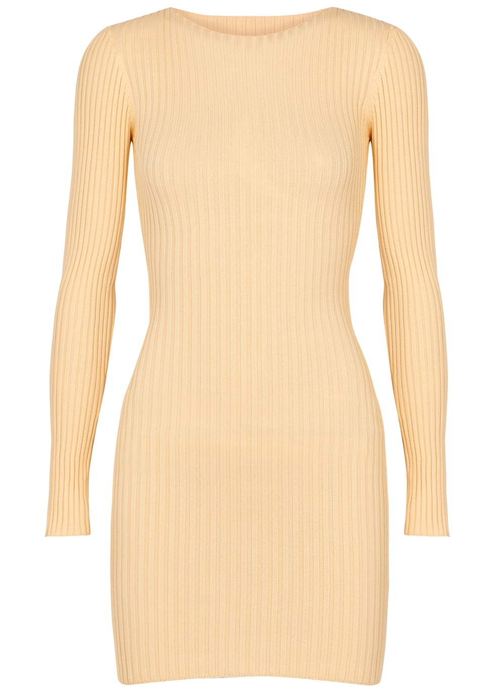 Lyla cream rib-knit mini dress