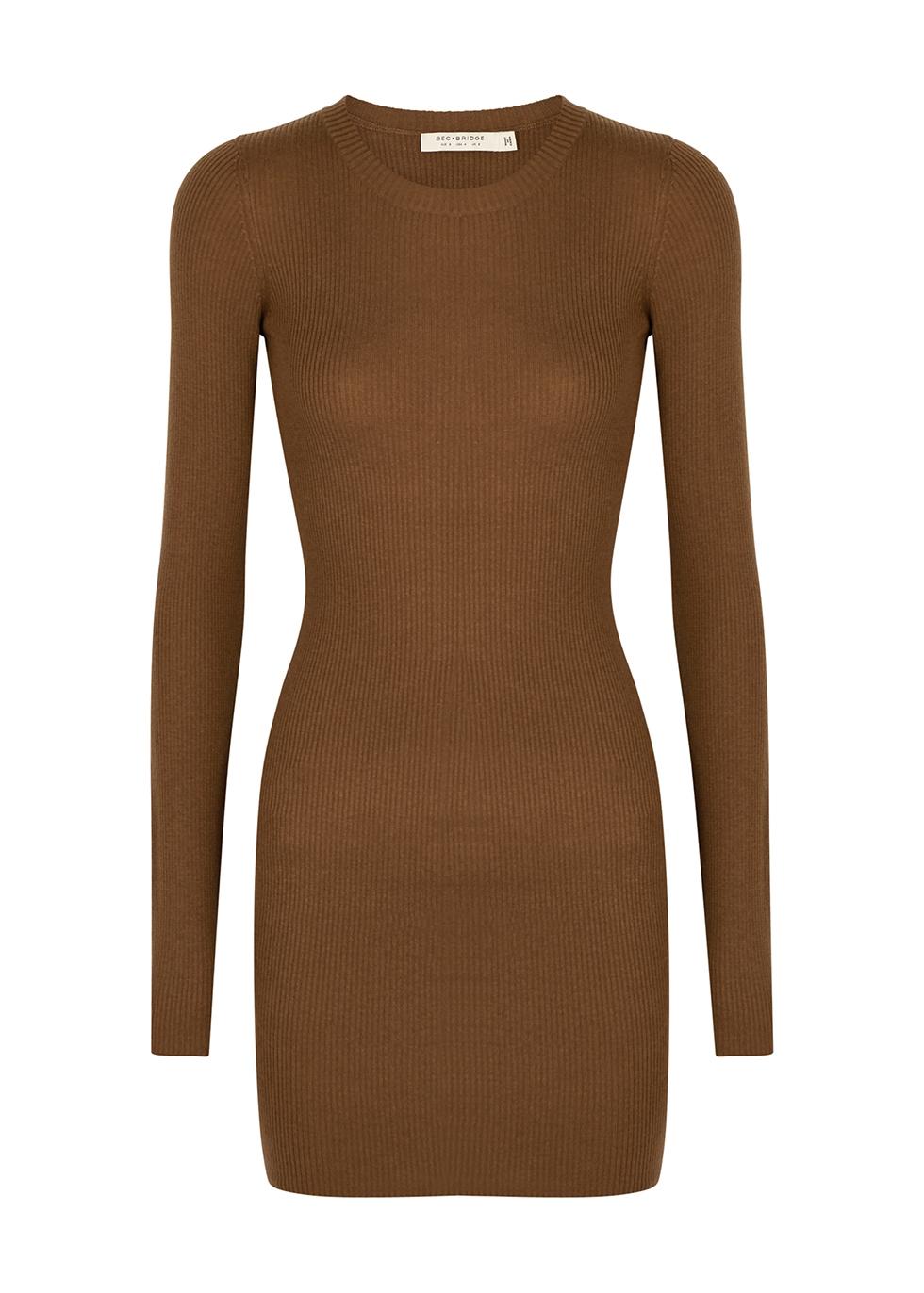 Freya brown rib-knit mini dress