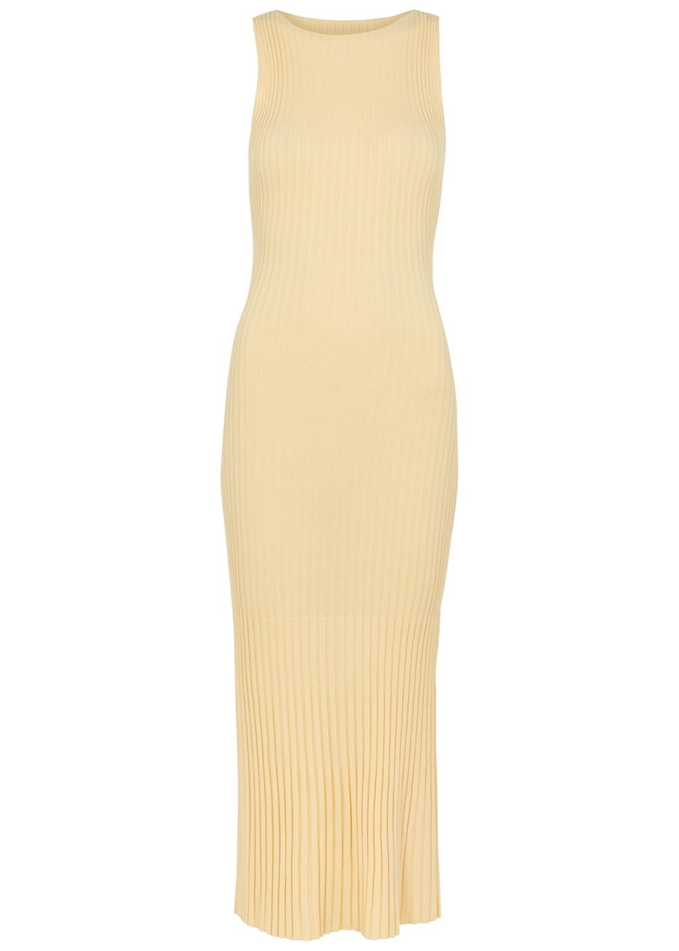 Lyla cream ribbed midi dress