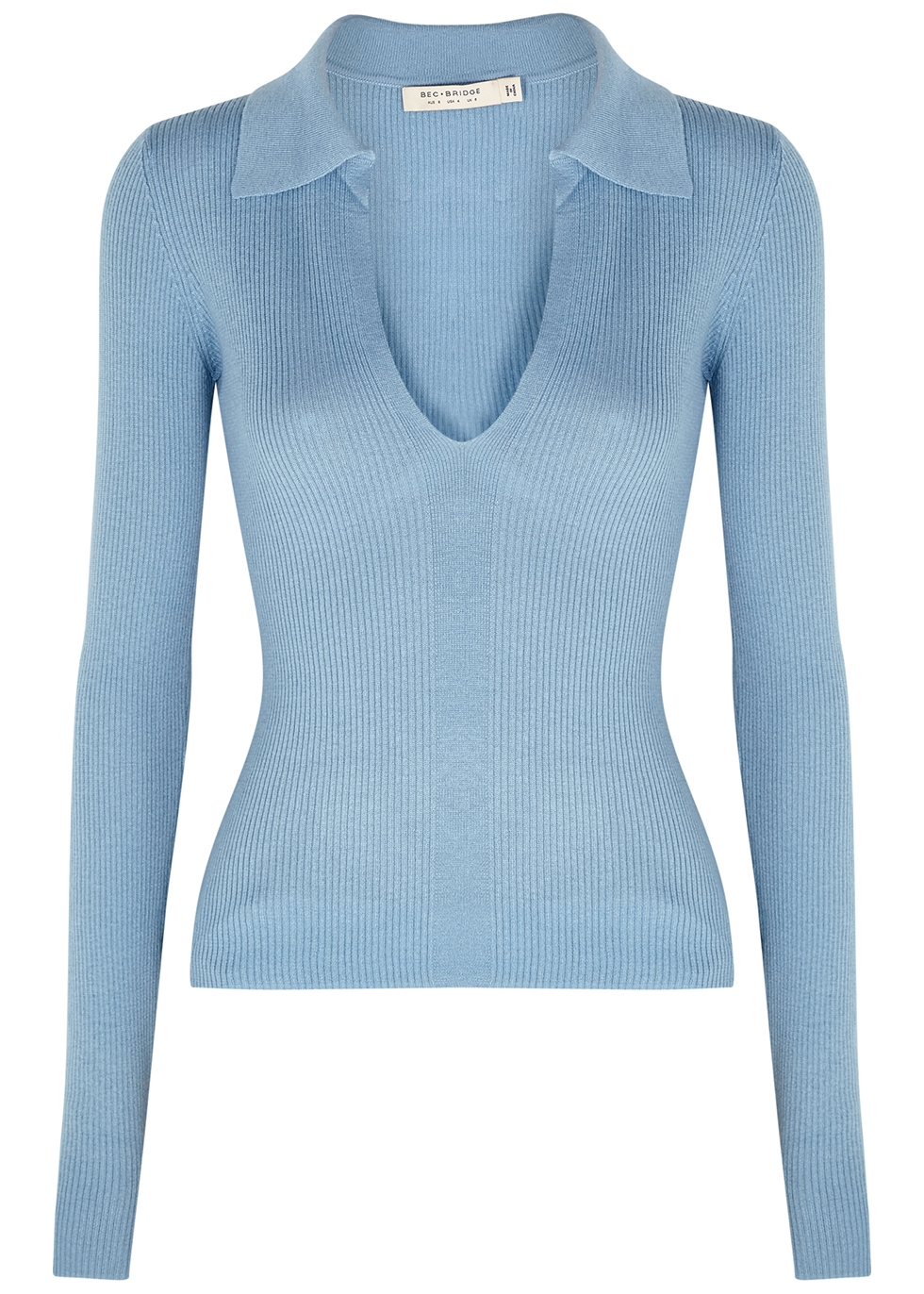 Freya blue ribbed-knit jumper