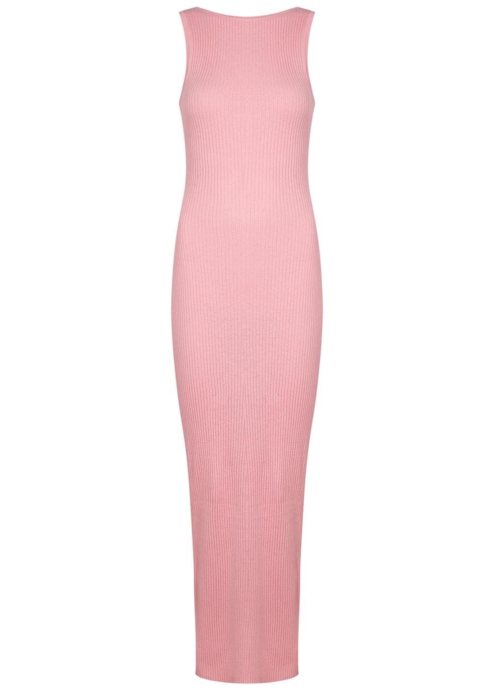 Riviera pink ribbed-knit maxi dress