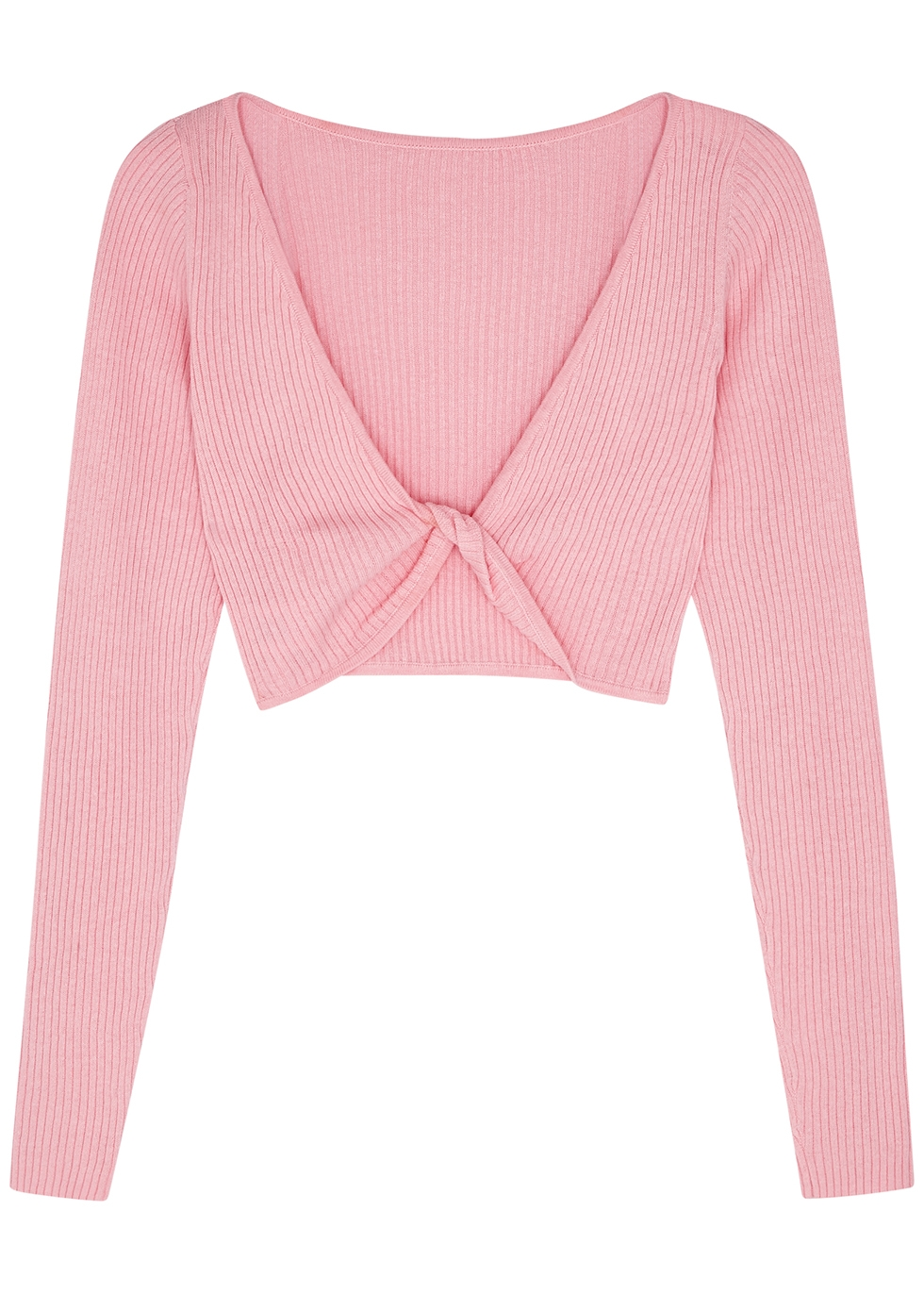 Riviera pink cropped ribbed-knit top