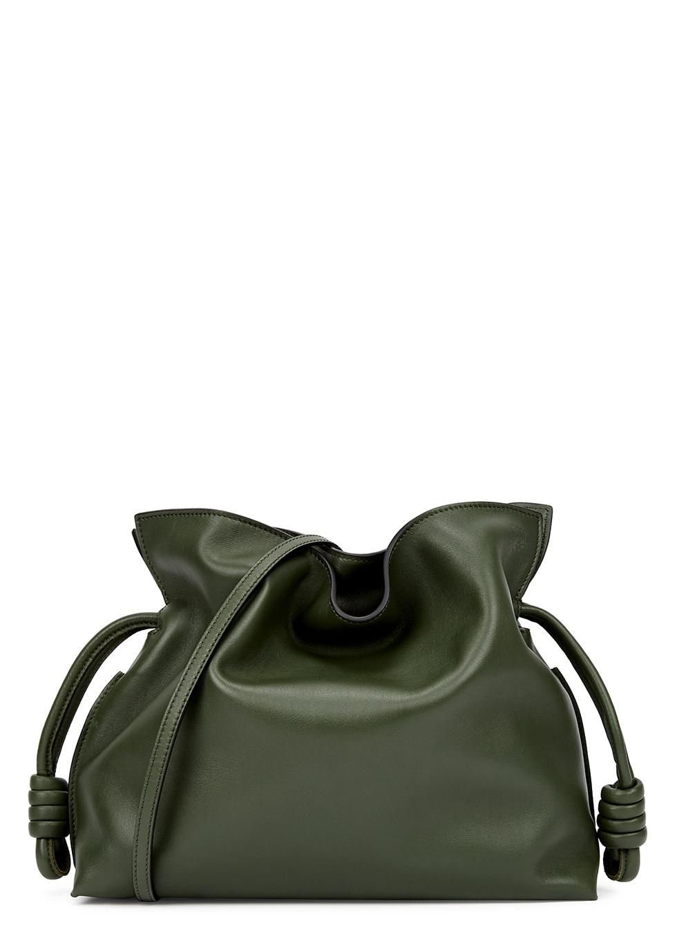 Flamenco dark green leather clutch