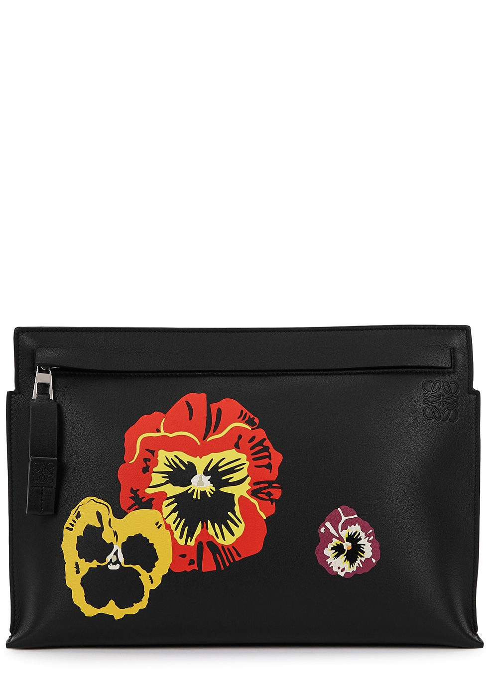 Pansies T black leather pouch