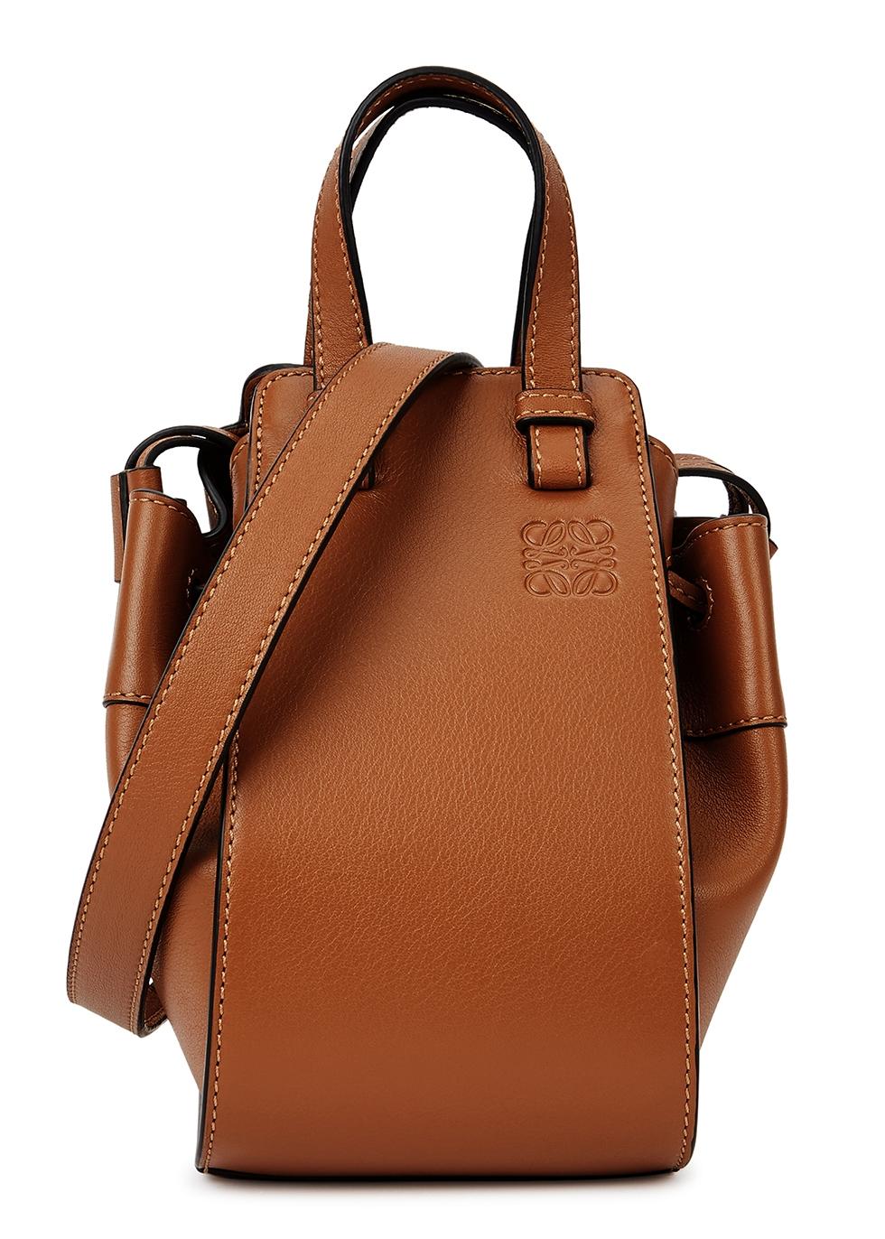 Hammock mini brown leather cross-body bag