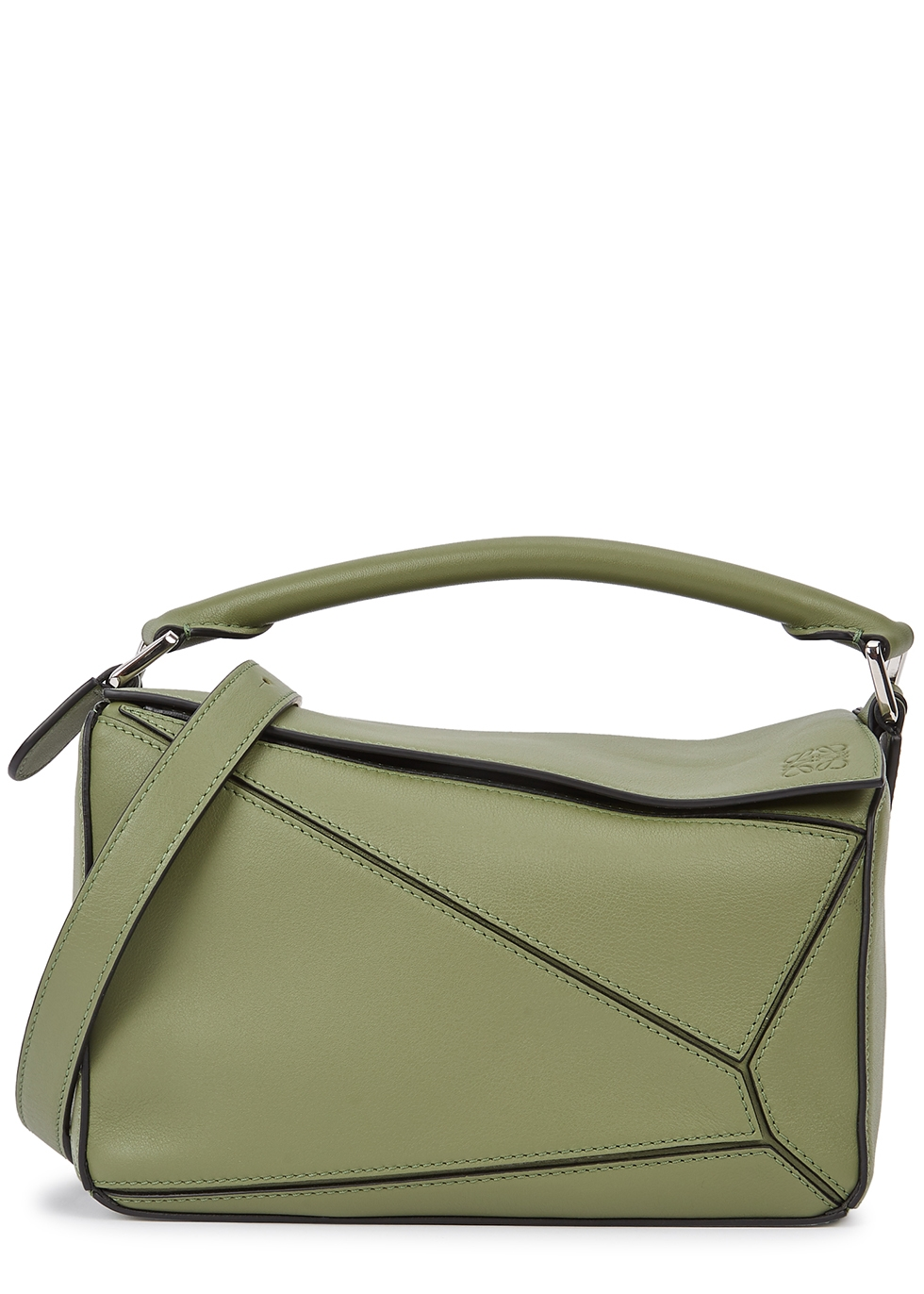 Puzzle small green leather cross-body bag