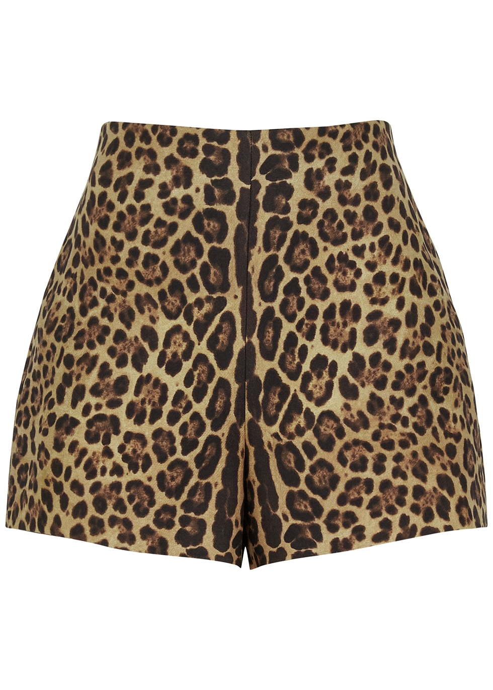 Leopard-print wool-blend shorts