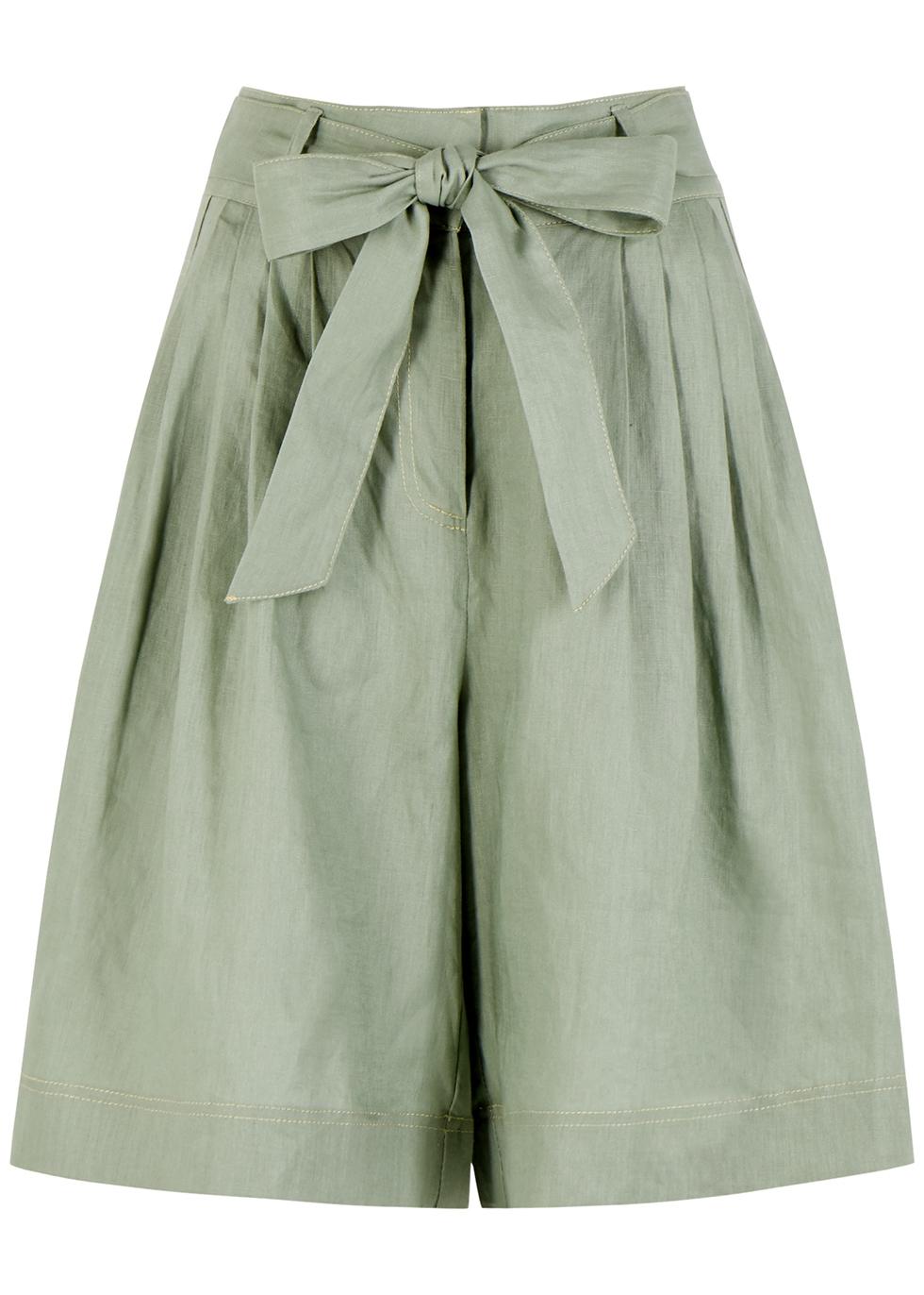 Ivy sage linen shorts