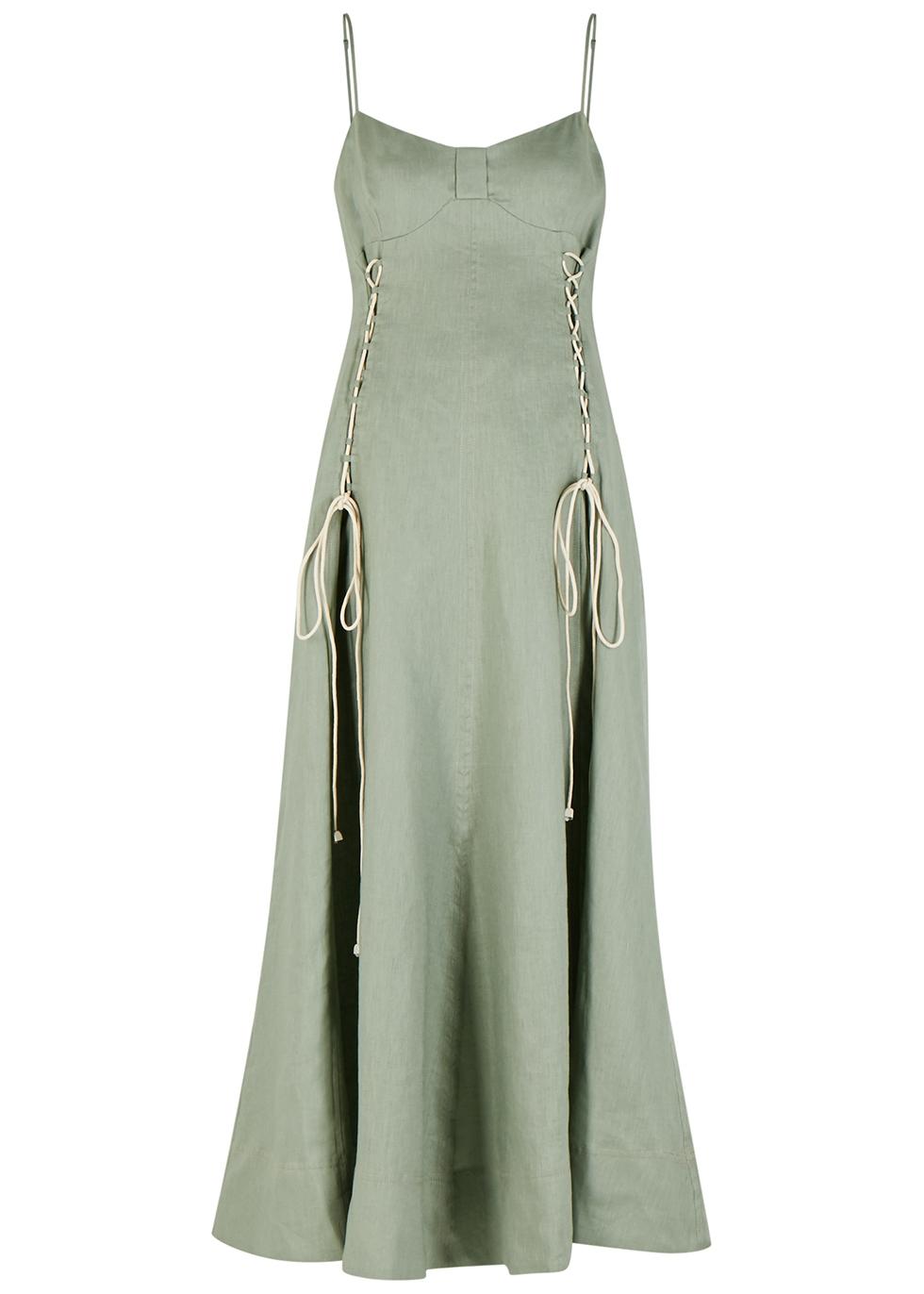 Ivy sage linen maxi dress