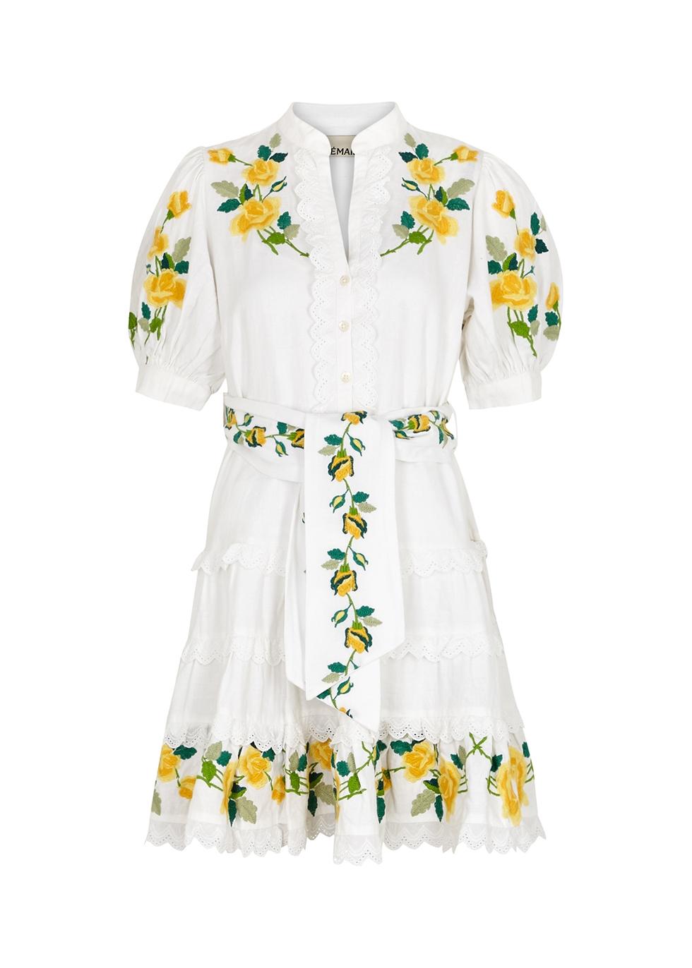Rosa white embroidered cotton-blend mini dress